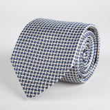 Black Geometric Diamond Woven Silk Tie - British Made