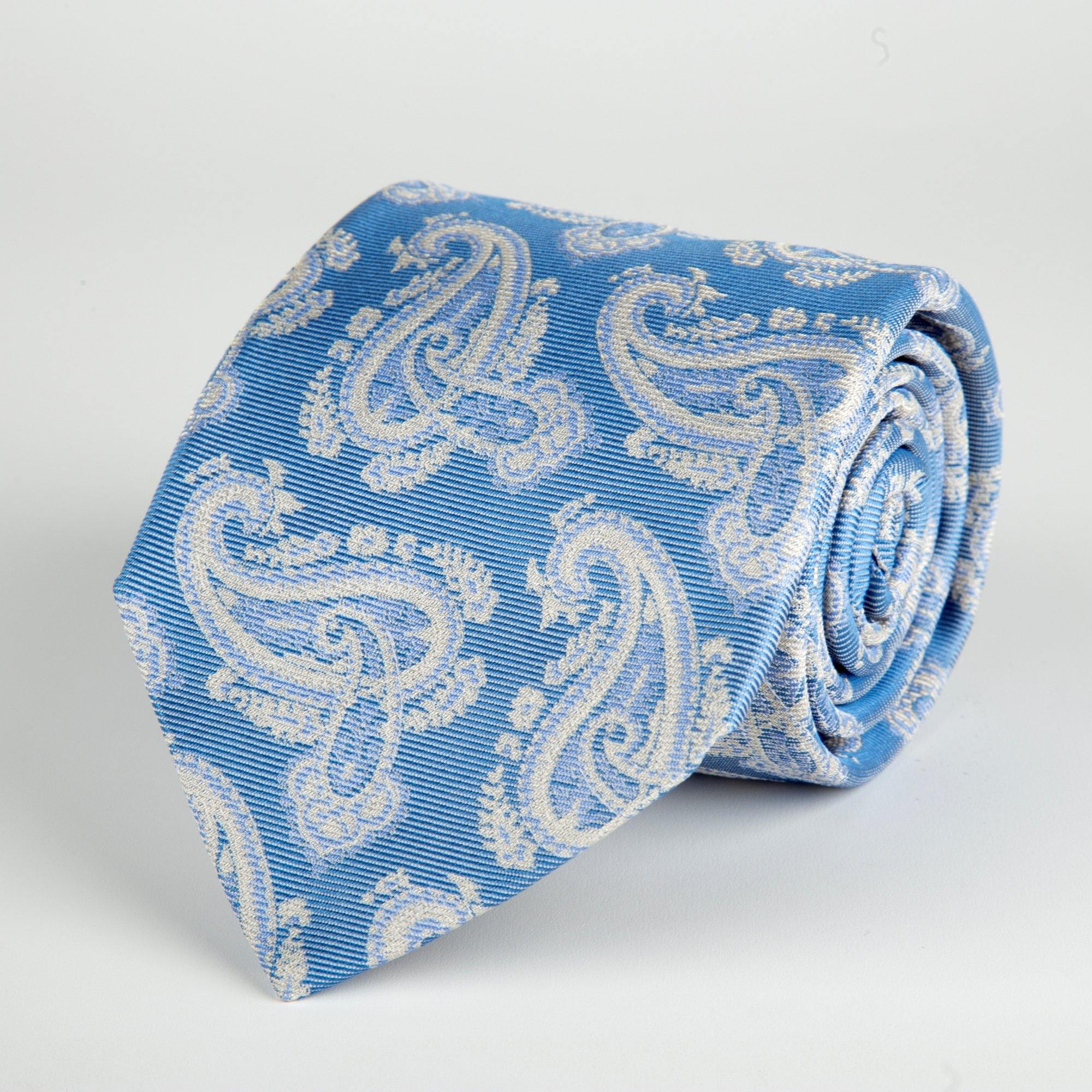 Blue Floral Paisley Woven Silk Tie Hand Finished - British Made
