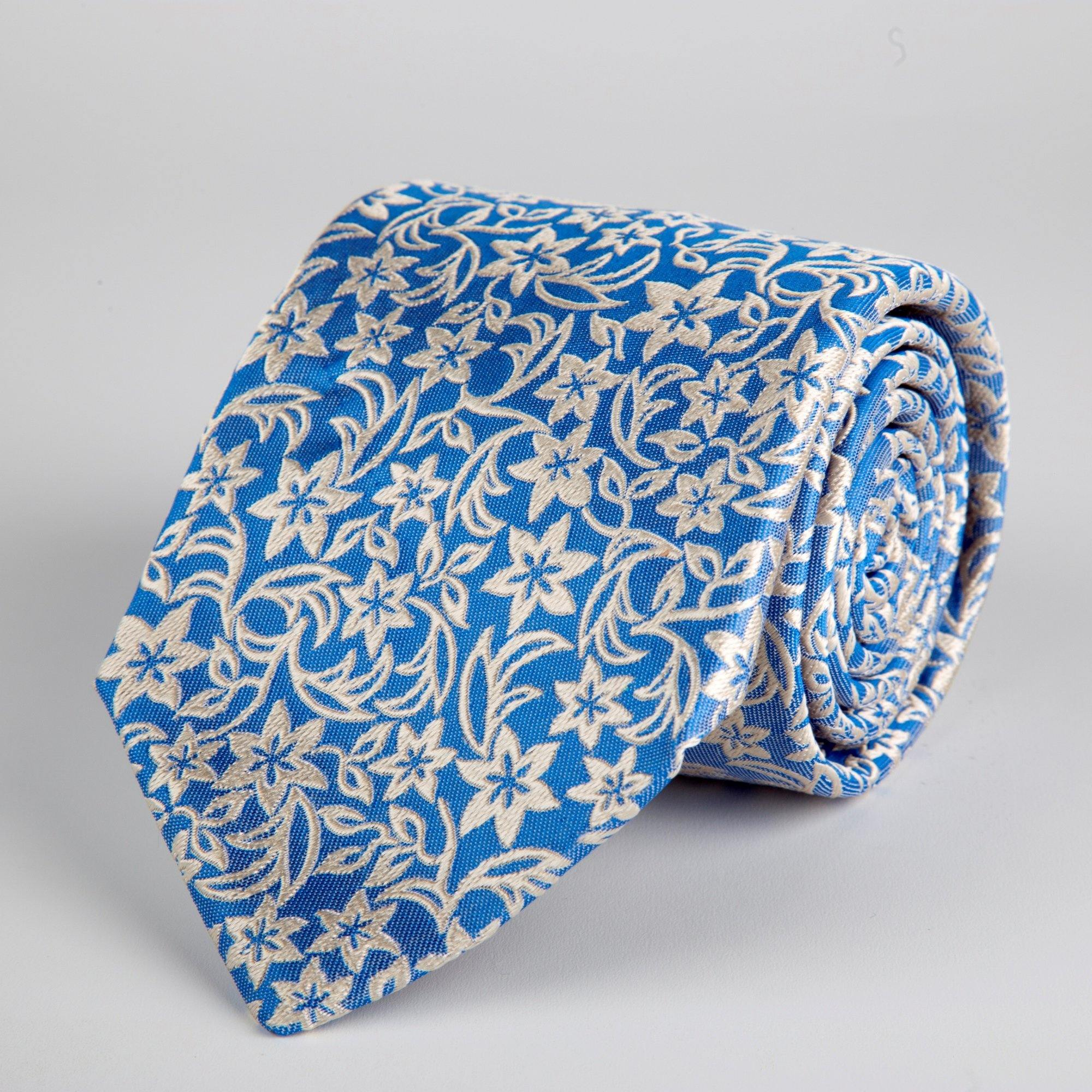 Blue Floral Woven Silk Tie Hand Finished - British Made