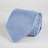 Blue Geometric Diamond Woven Silk Tie - British Made