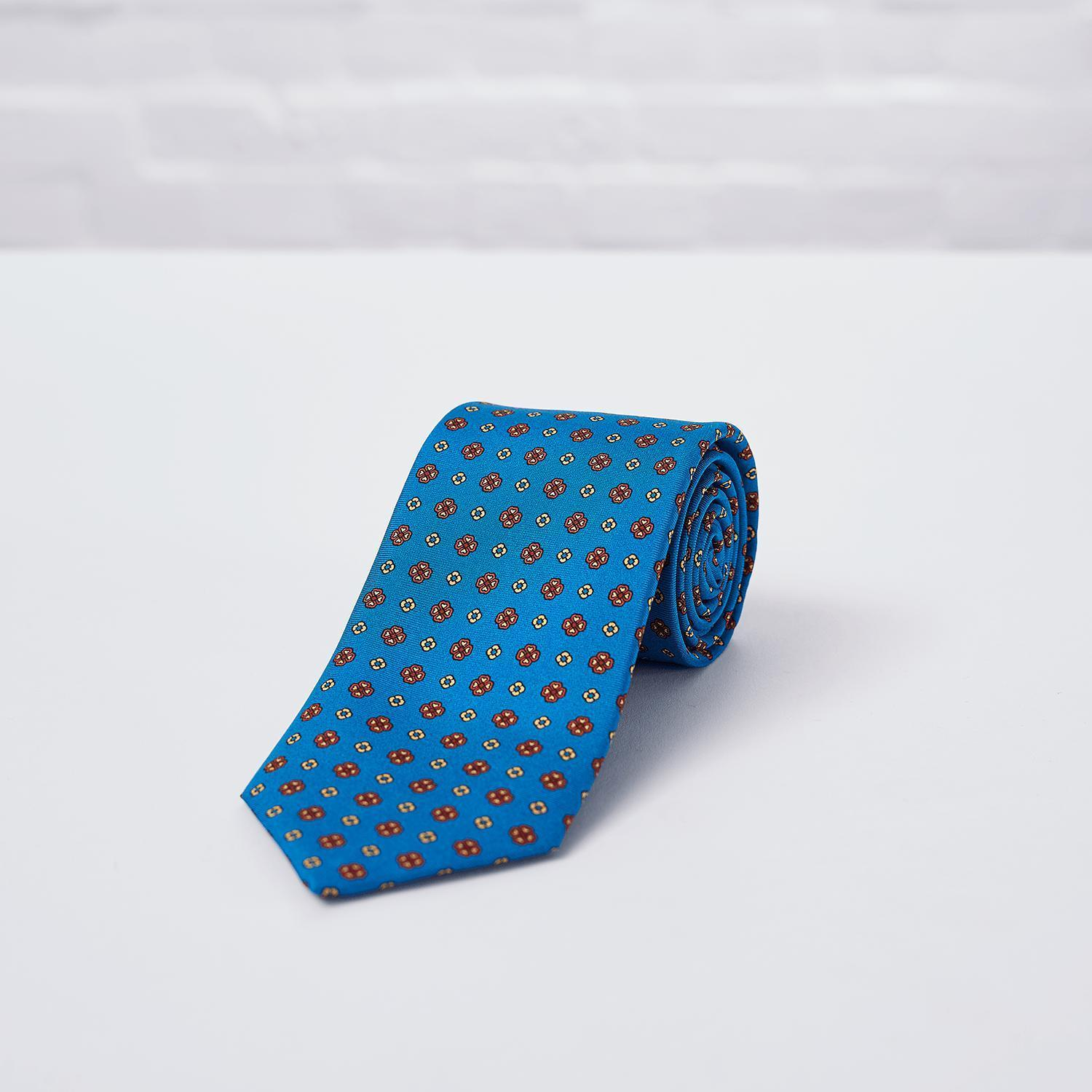 Blue Geometric Flower Printed Silk Tie - British Made