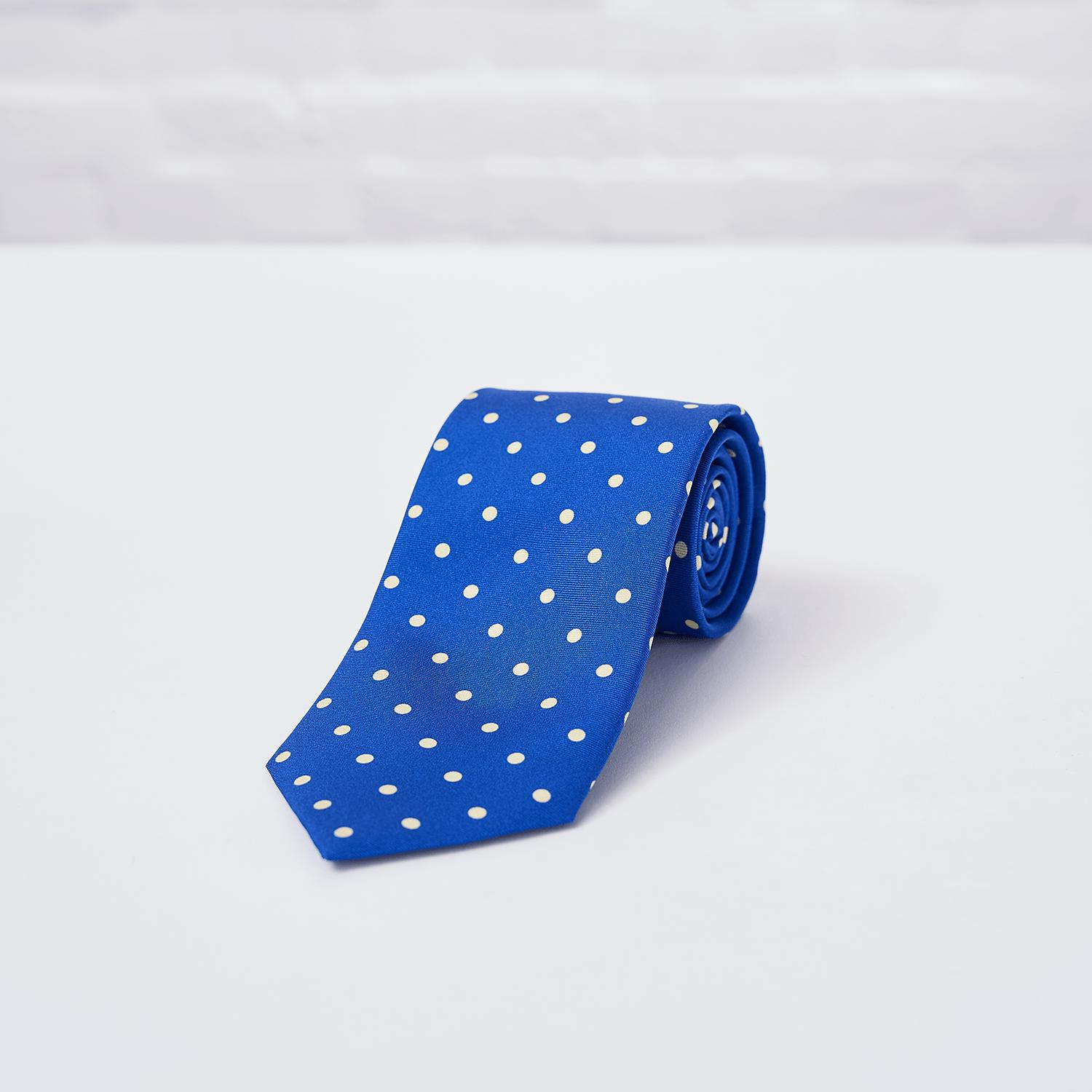 Blue Large Spot Printed Silk Tie - British Made