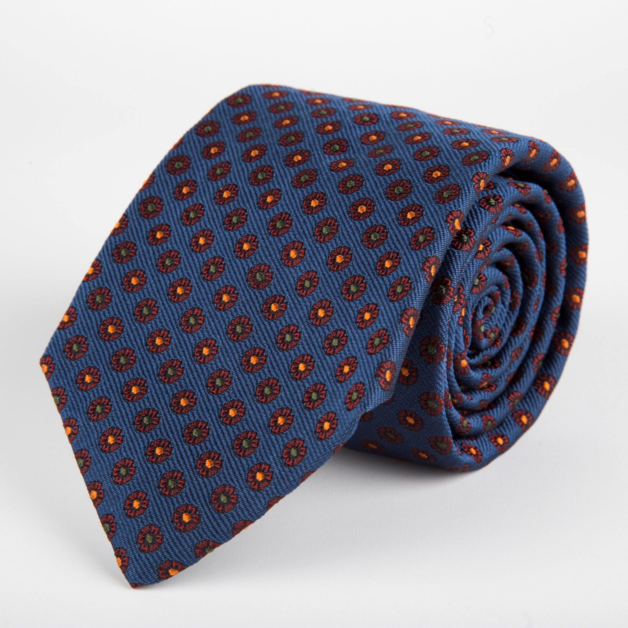 Blue Neat Flower Woven Silk Tie Hand Finished - British Made