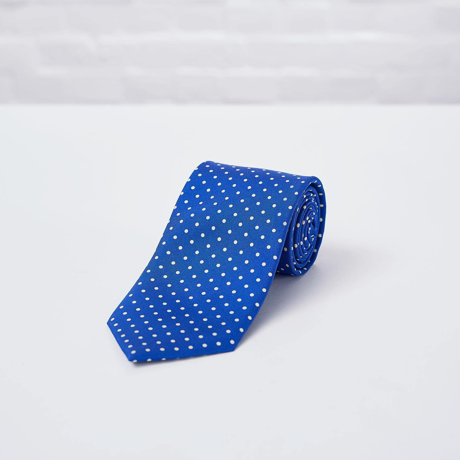 Blue Small Spot Printed Silk Tie Hand Finished - British Made