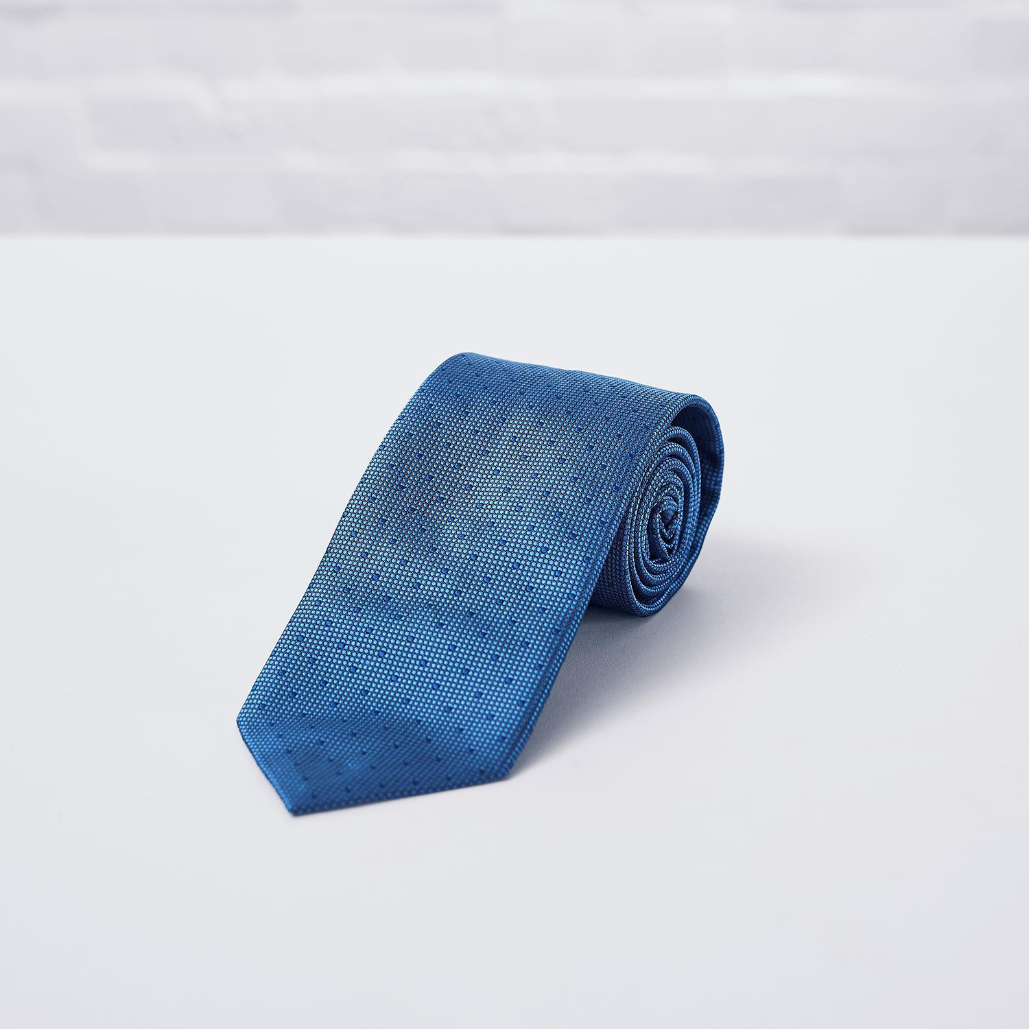 Blue Spot Woven Silk Tie - British Made