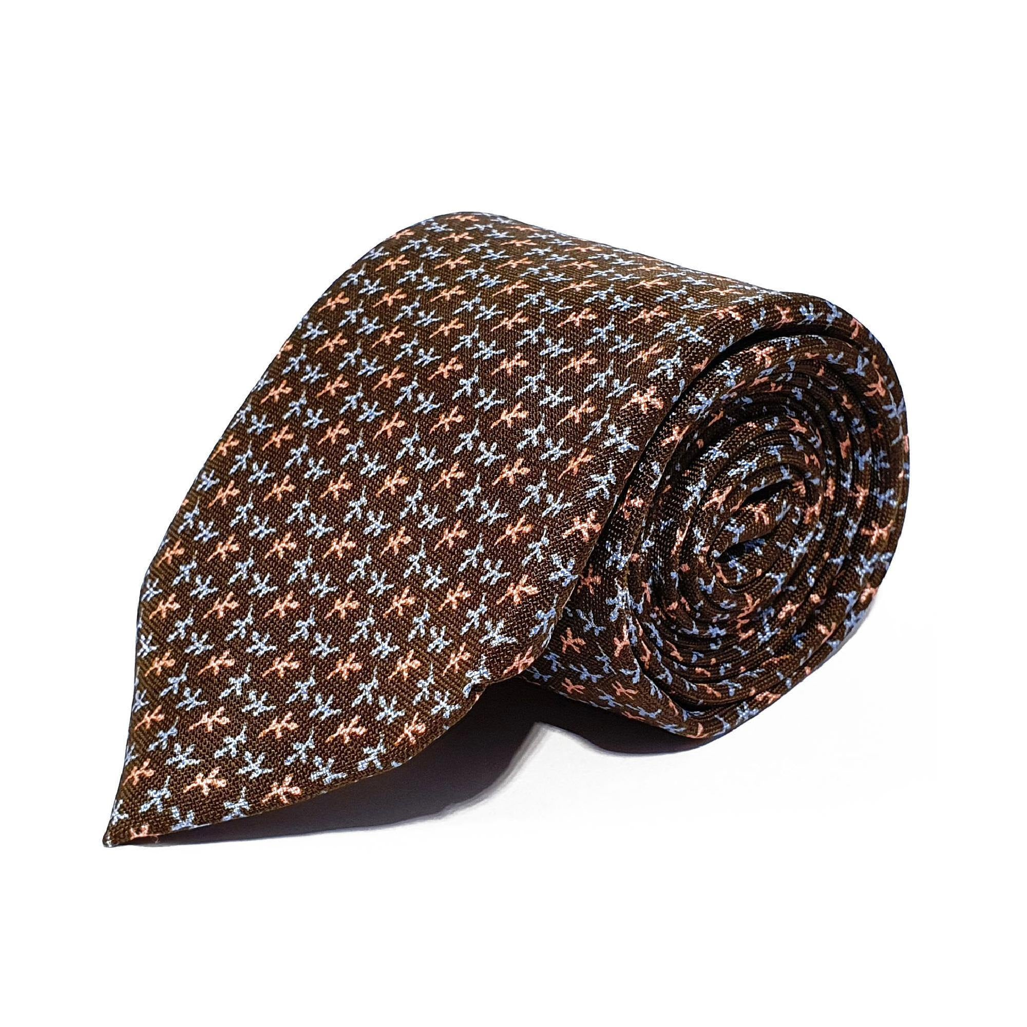 Brown Leaves Printed Silk Tie Hand Finished - British Made