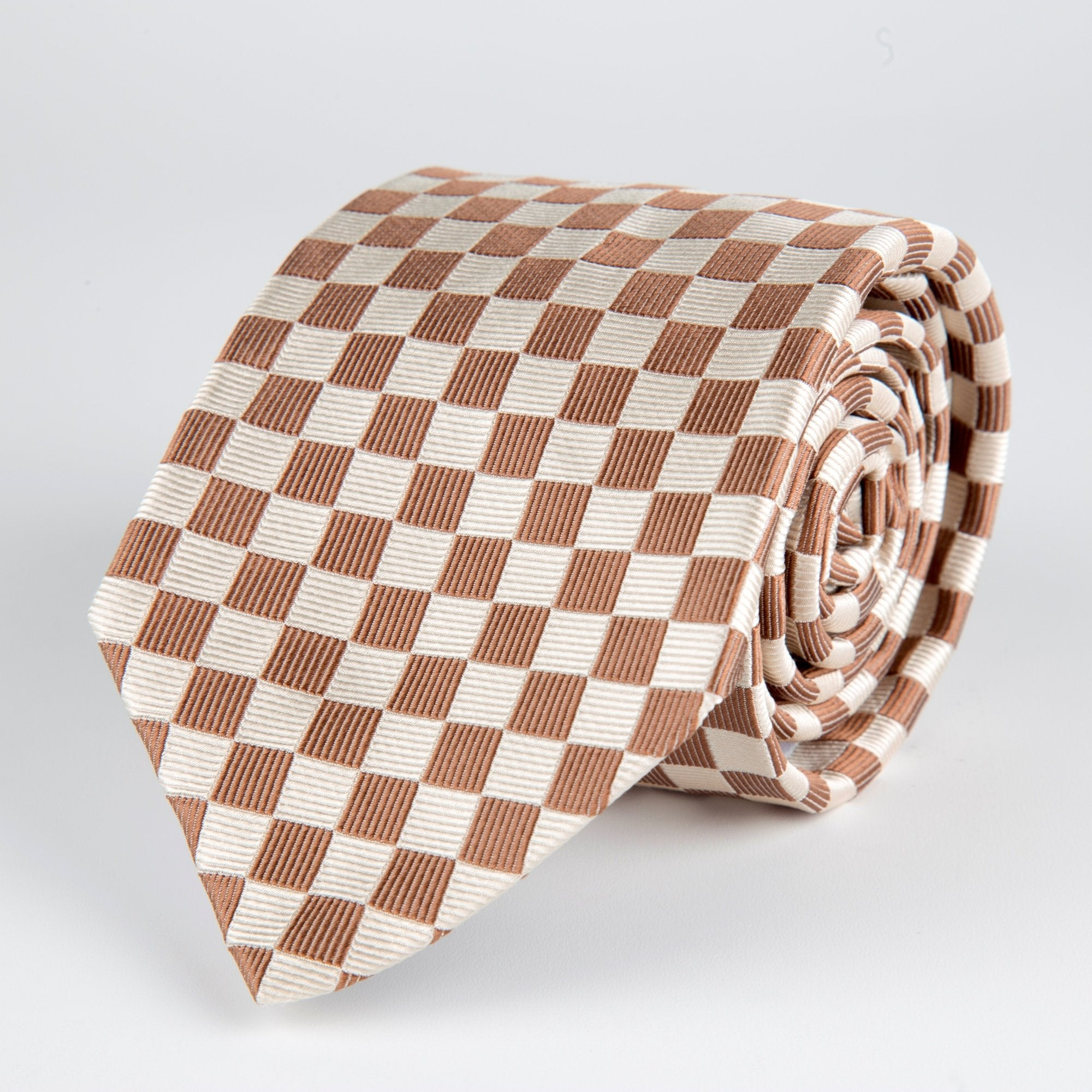 Brown Square Repp Woven Silk Tie - British Made