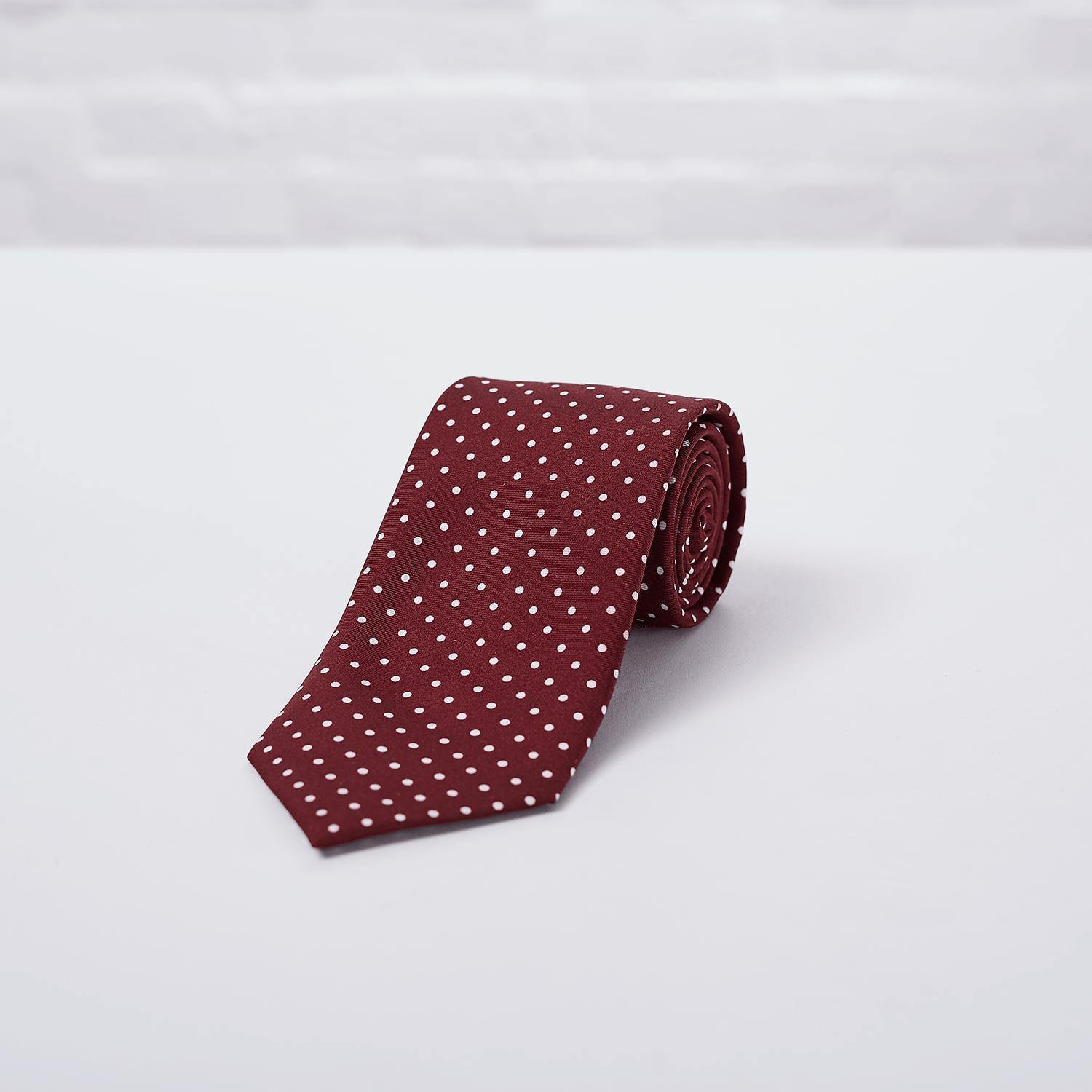 Burgundy Small Spot Printed Silk Tie Hand Finished - British Made