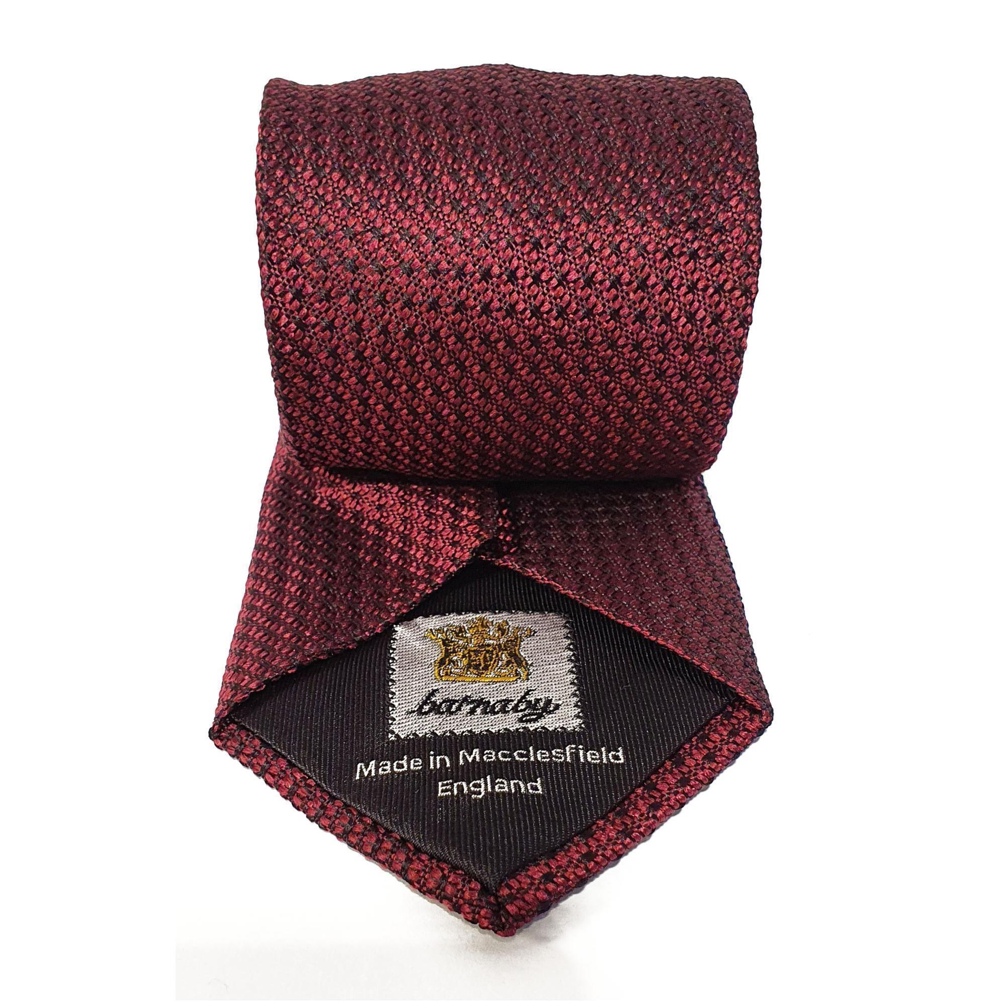 Dark Red Plain Weave Formal Silk Tie Hand Finished - British Made