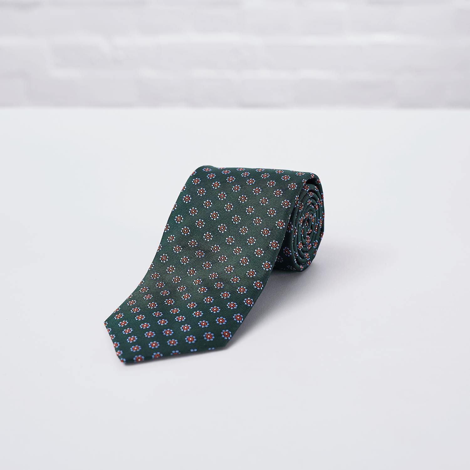Green Daisy Woven Silk Tie Hand Finished - British Made