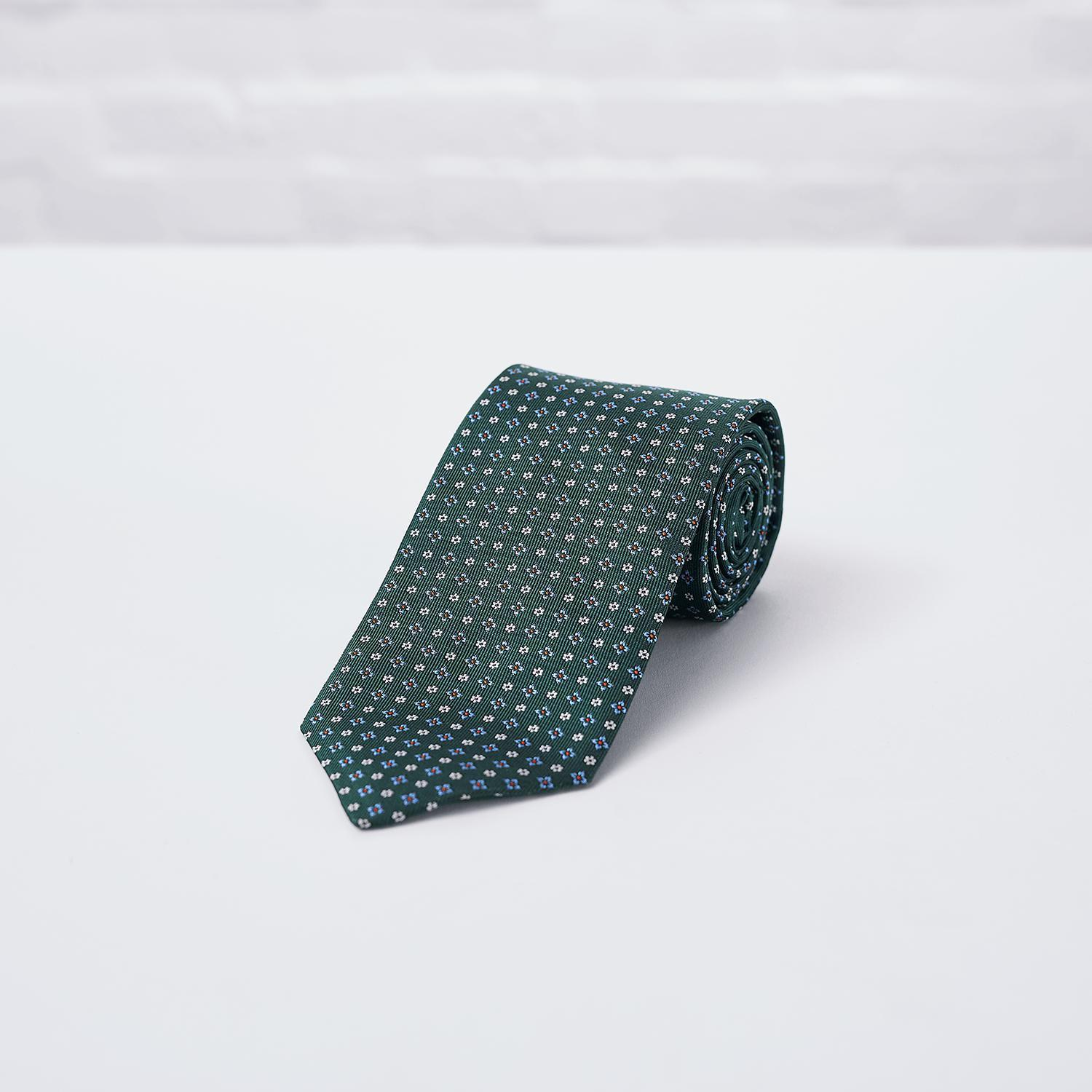Green Floral Woven Silk Tie - British Made