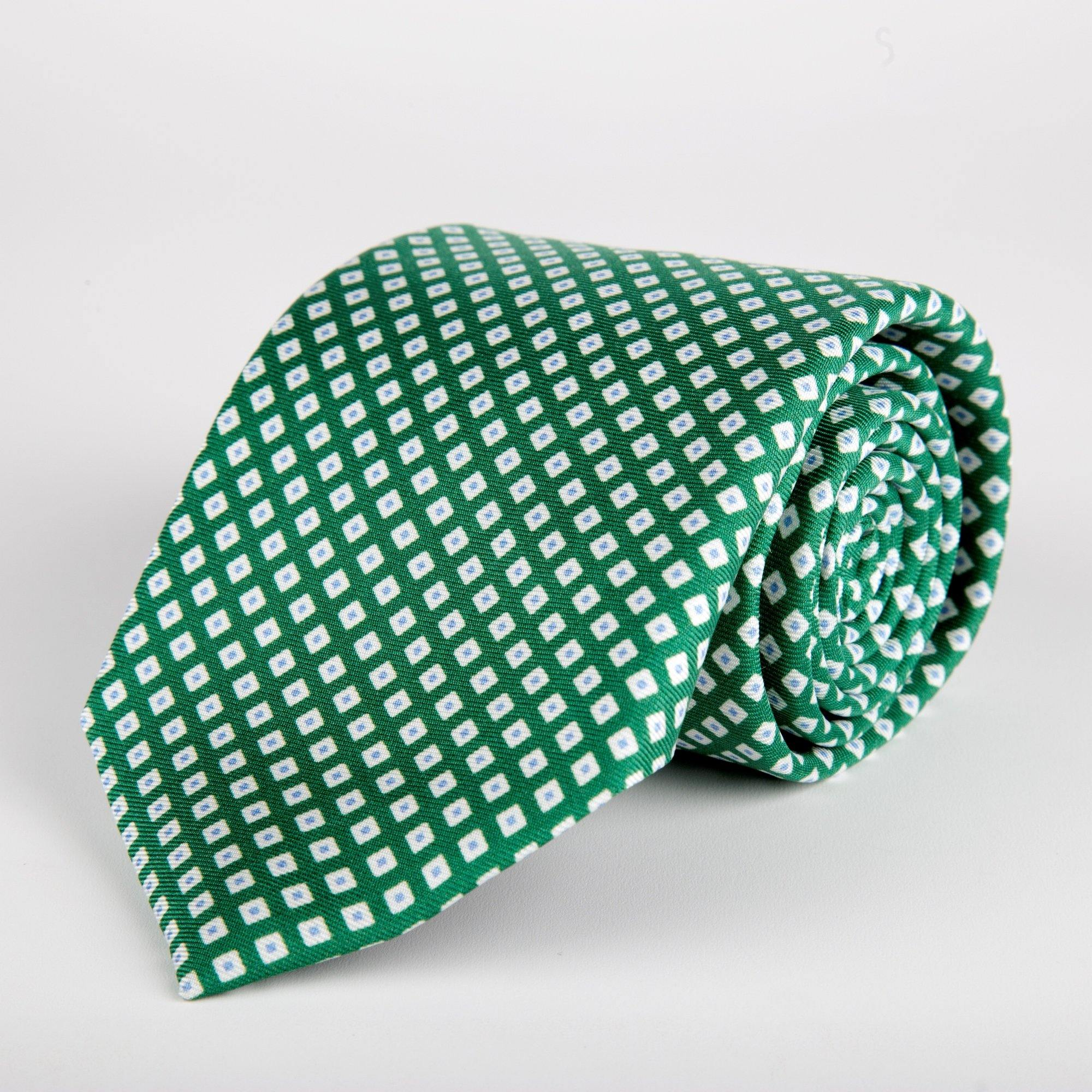 Green Geometric Diamond Printed Silk Tie Hand Finished - British Made