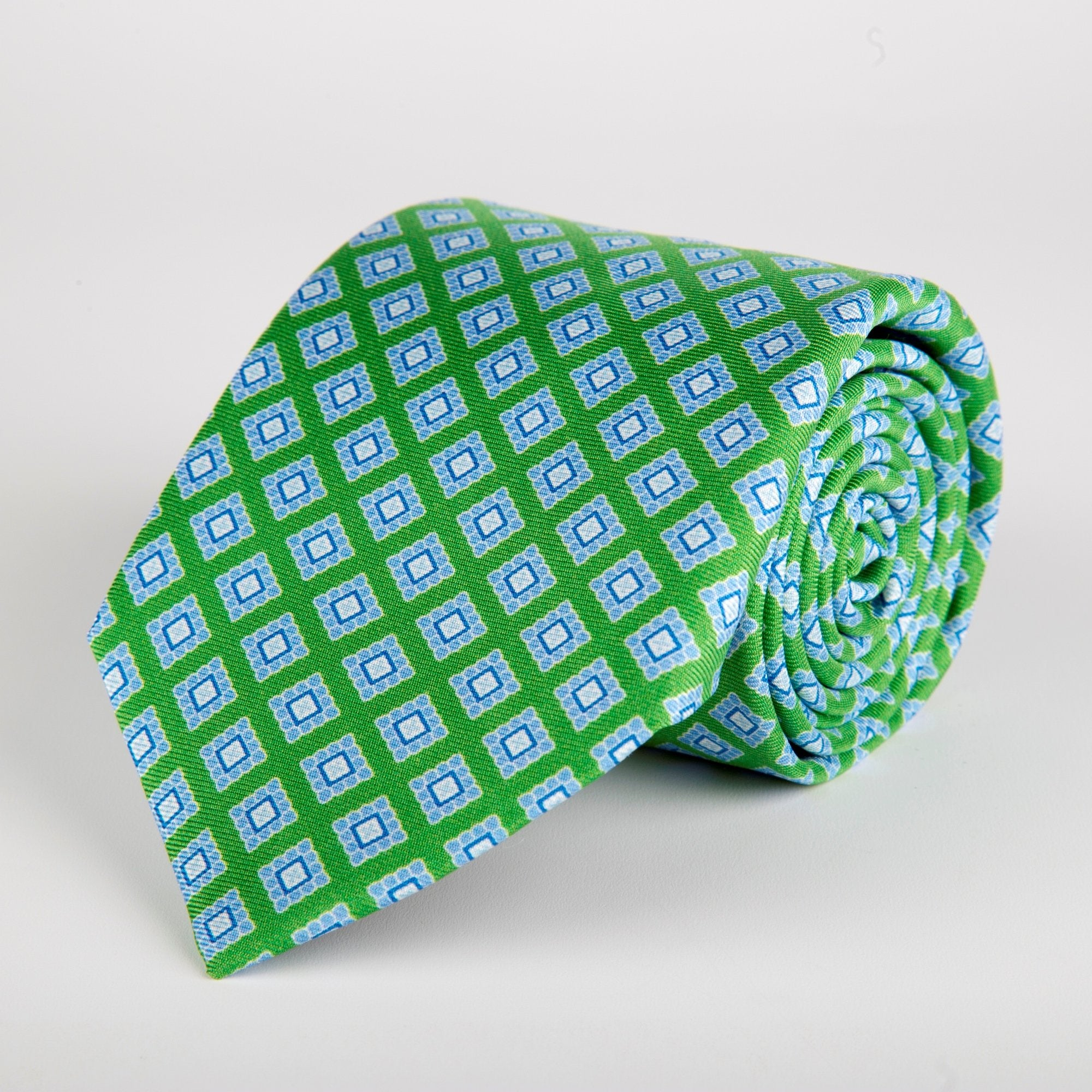 Green Geometric Flower Block Printed Silk Tie - British Made