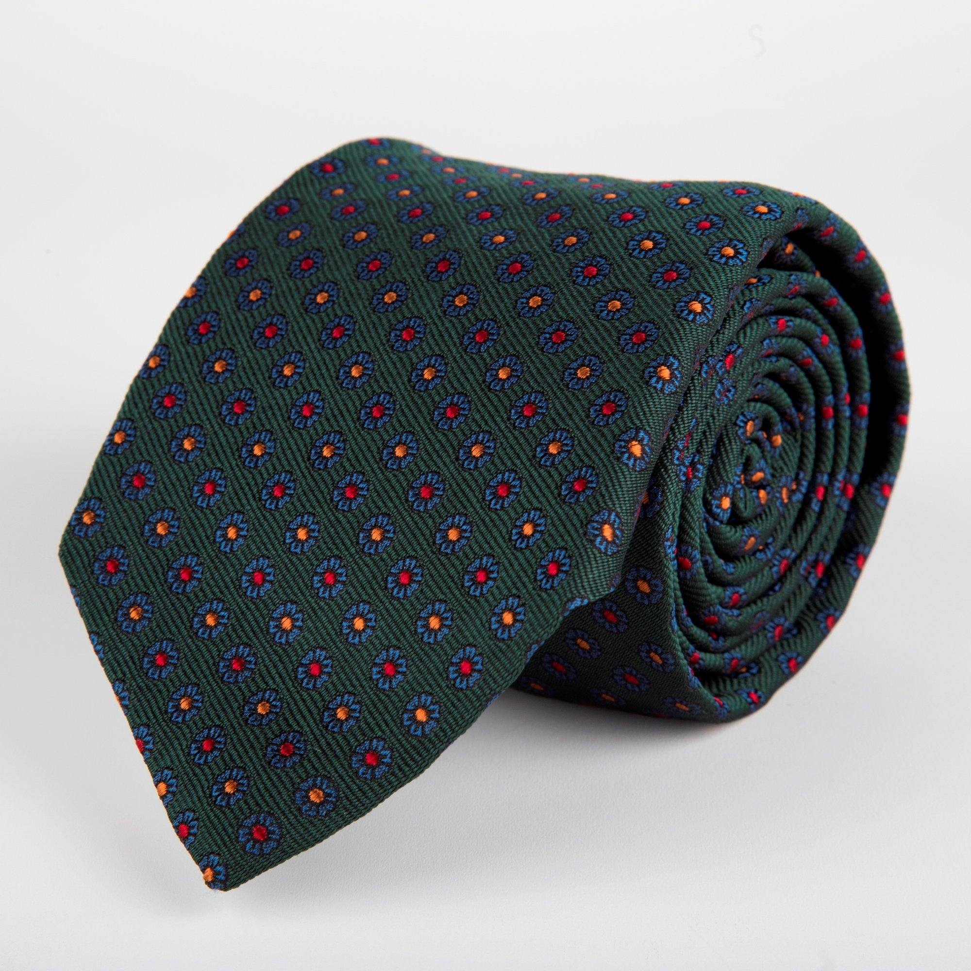 Green Neat Flower Woven Silk Tie Hand Finished - British Made