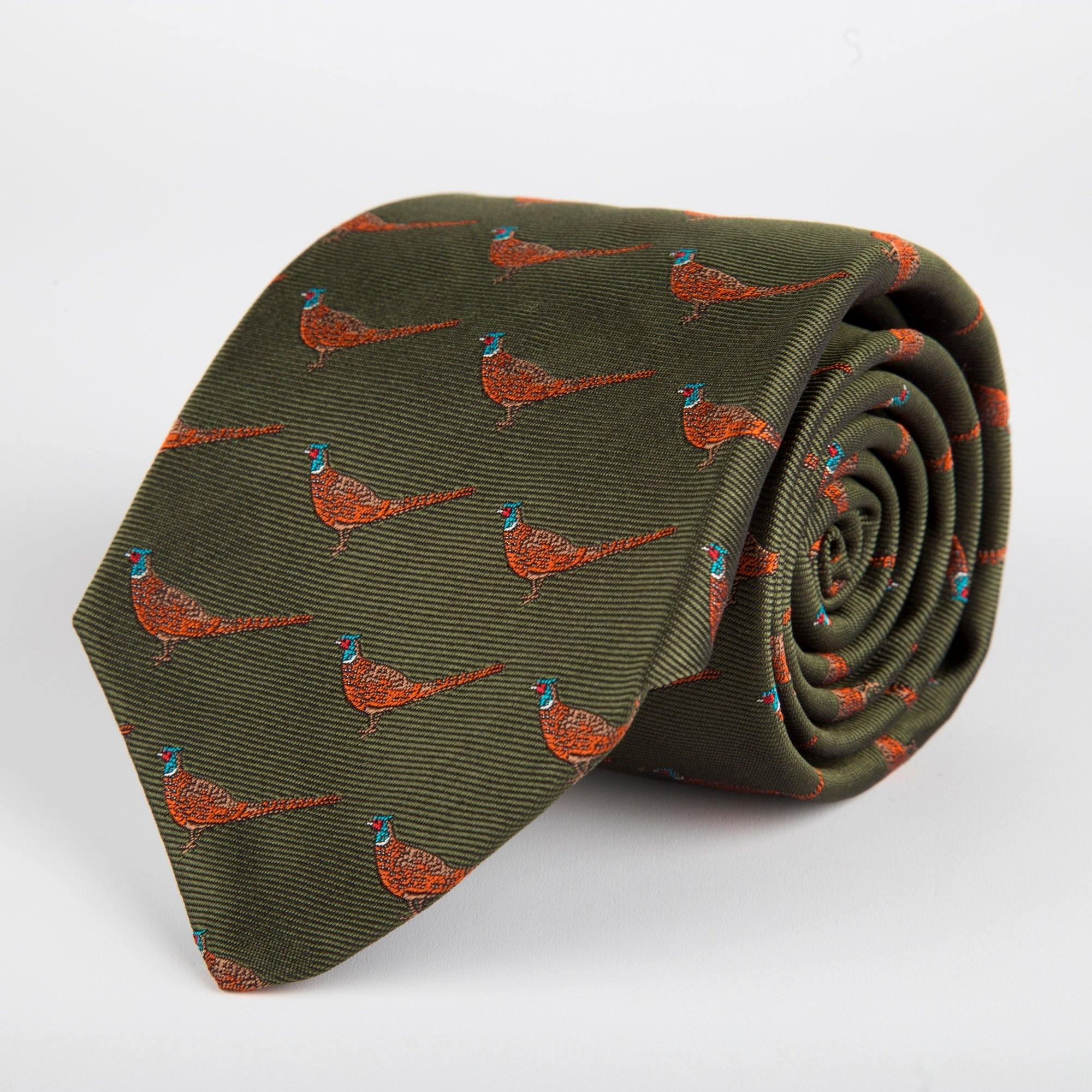 Green Pheasant Woven Silk Tie Hand Finished - British Made