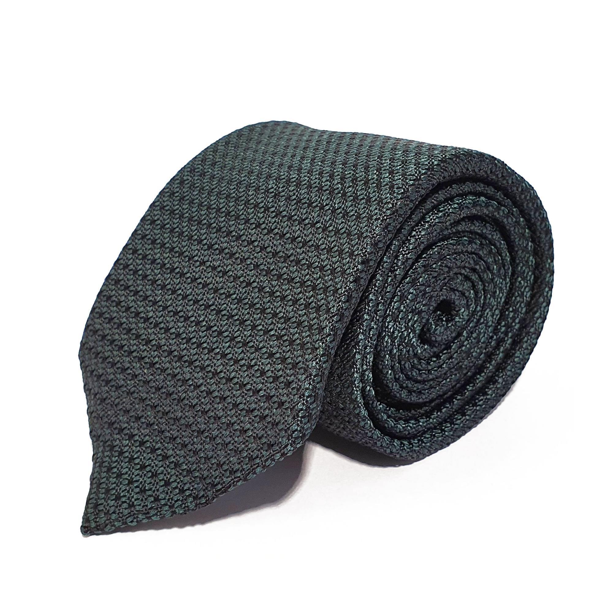 Green Plain Weave Formal Silk Tie Hand Finished - British Made