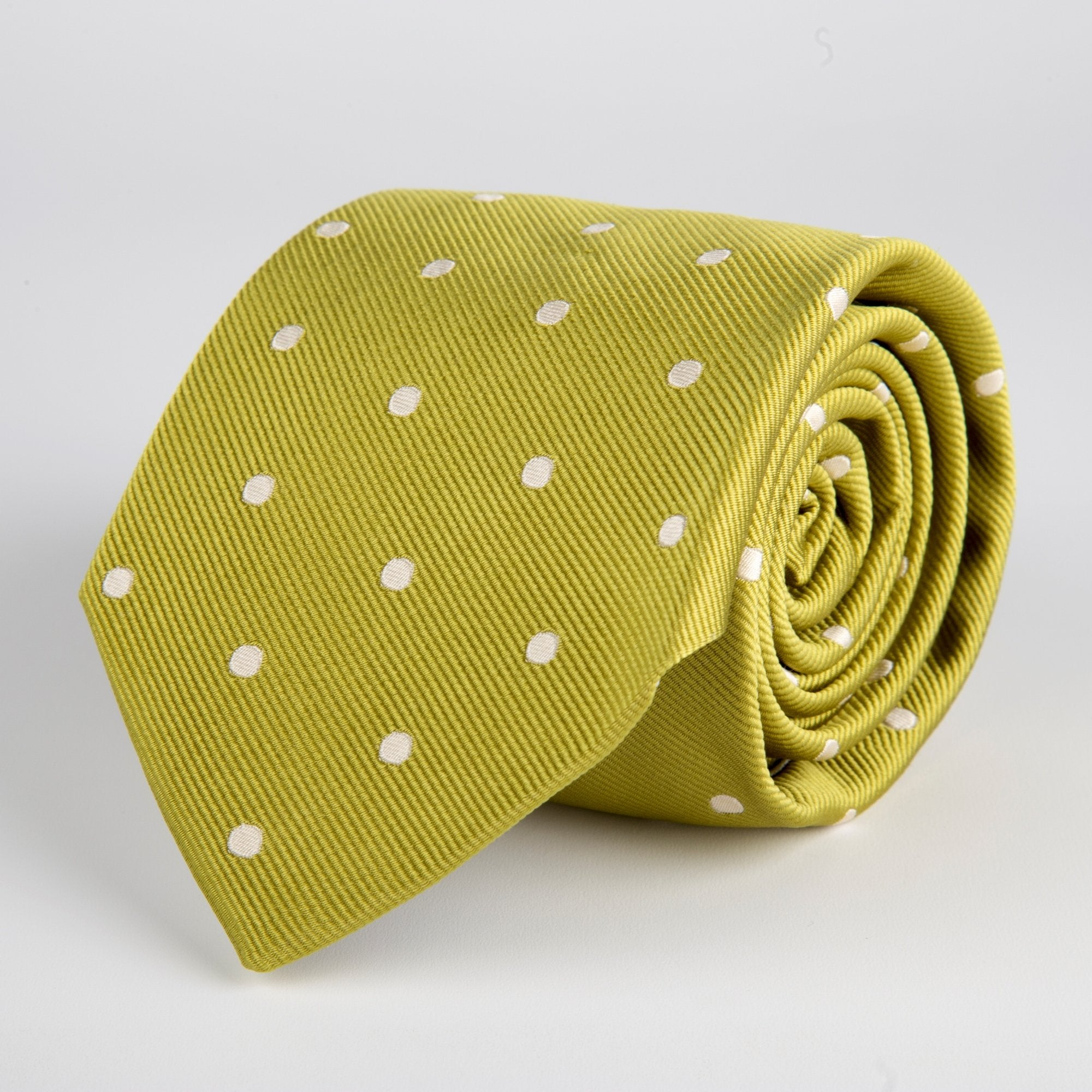 Green Spotted Woven Silk Tie - British Made