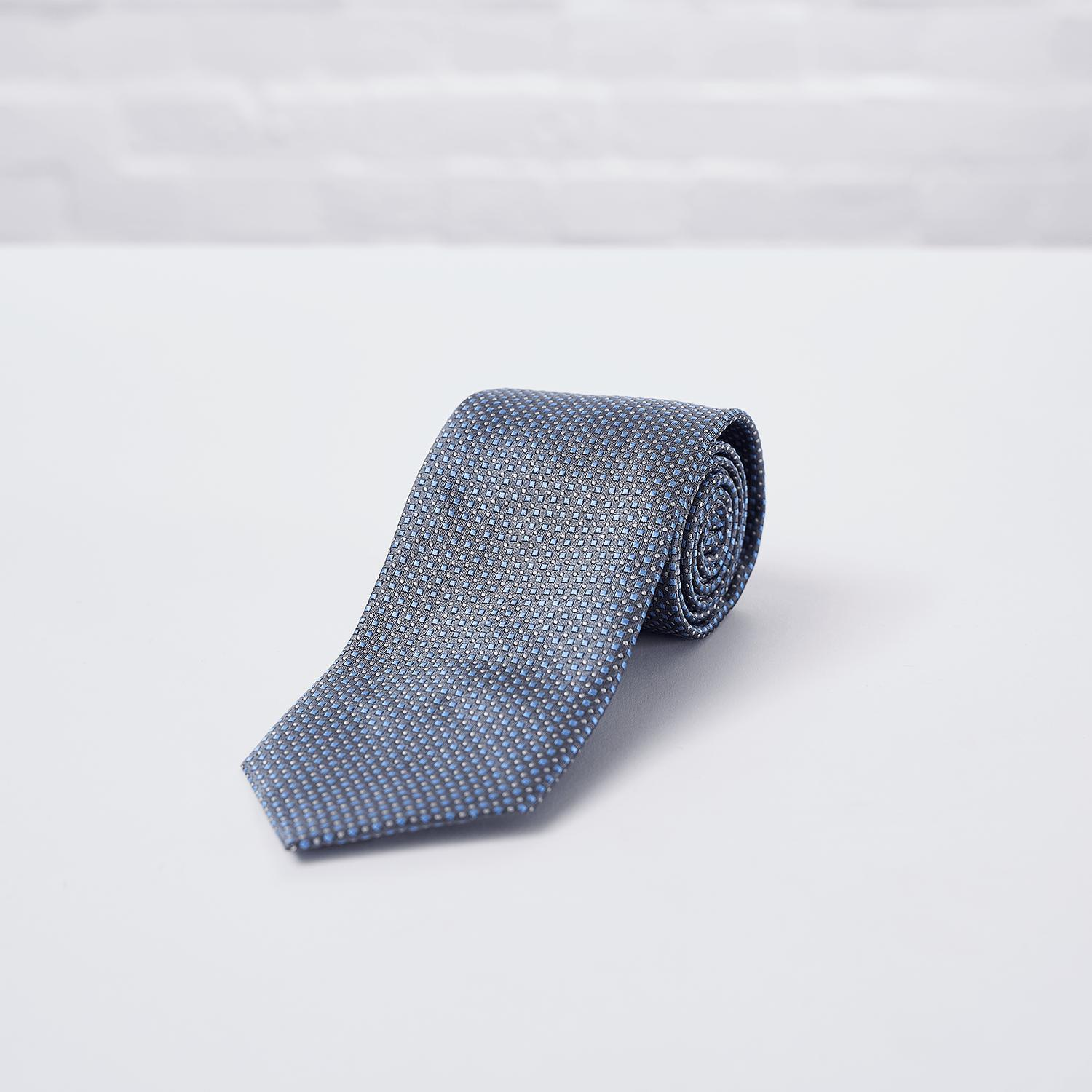 Grey Square Spot Woven Silk Tie - British Made