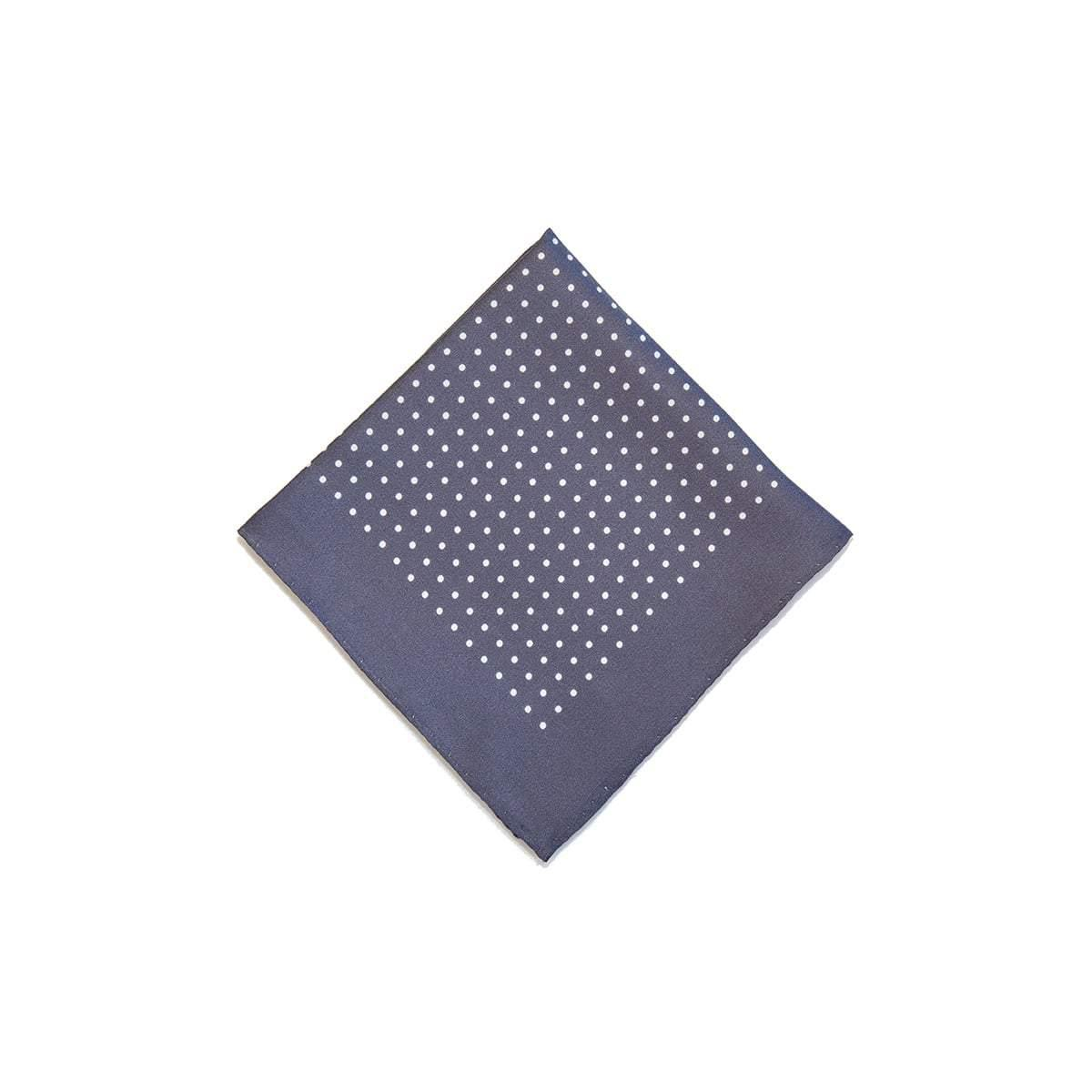 Grey White Classic Spot Print Silk Pocket Square - British Made