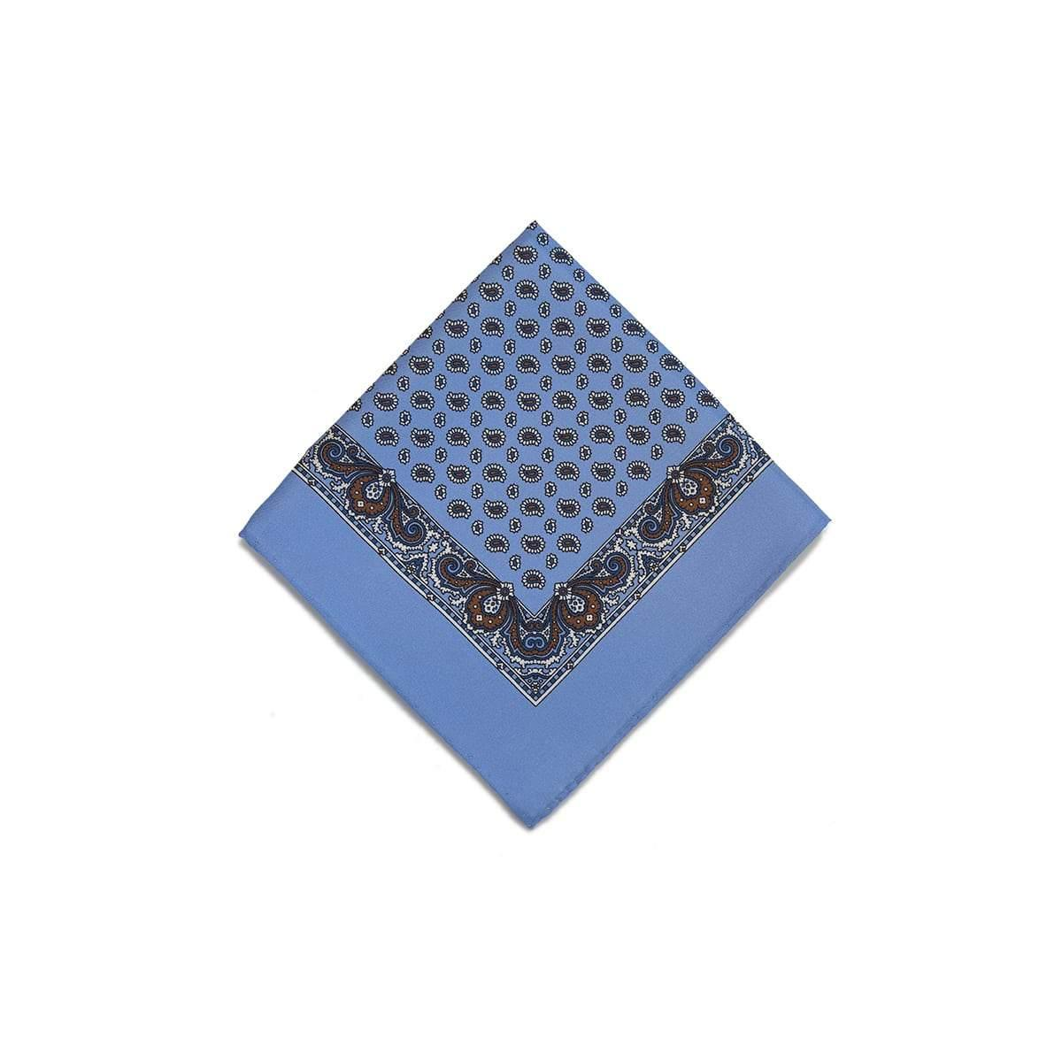Light Blue Brown Tear Drop Silk Pocket Square With A Paisley Border - British Made