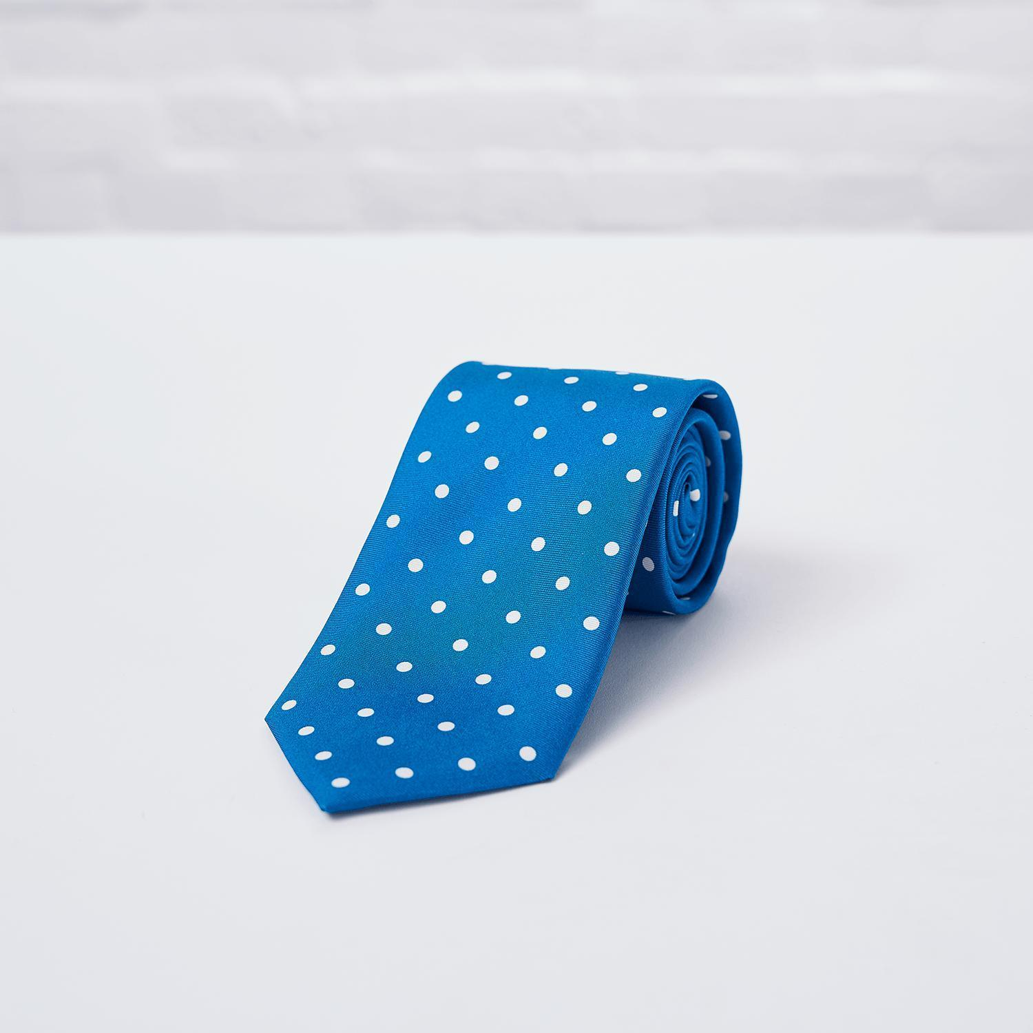 Light Blue Large Spot Printed Silk Tie - British Made