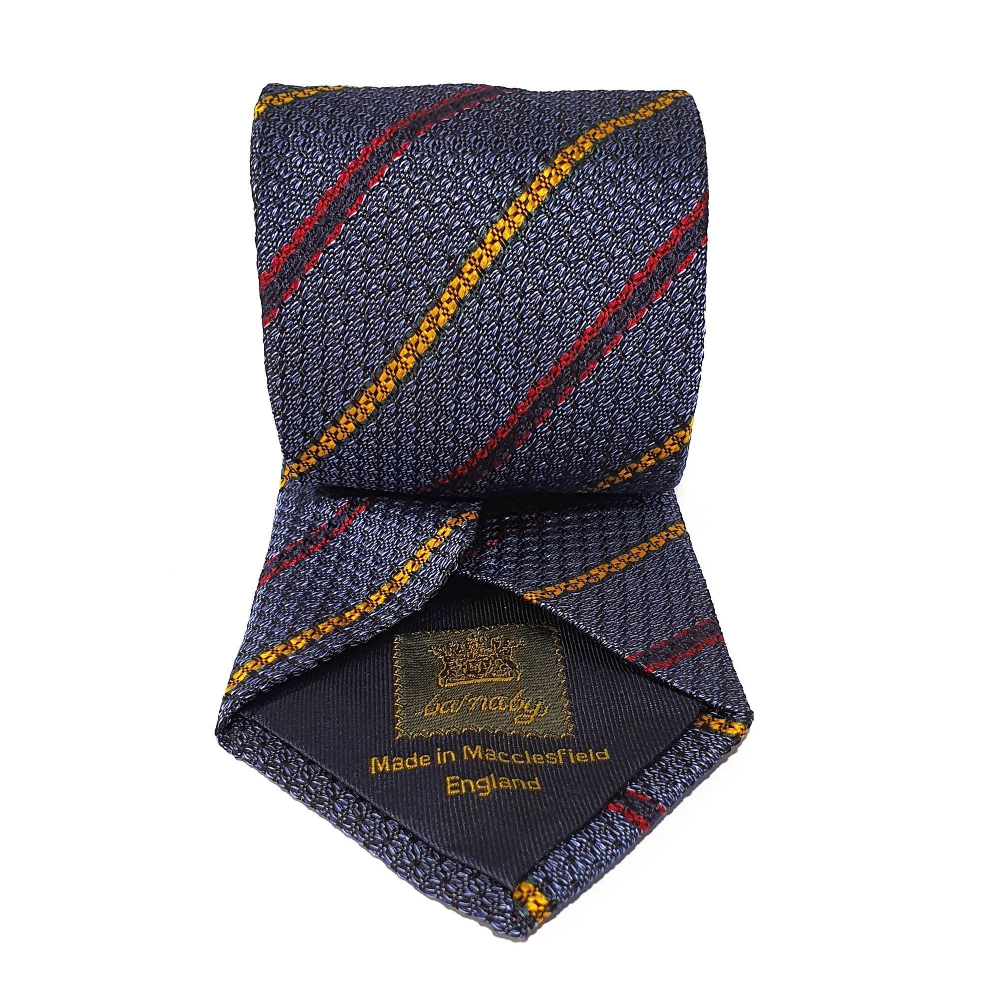 Light Navy Stripe Silk Tie Woven Hand Finished - British Made