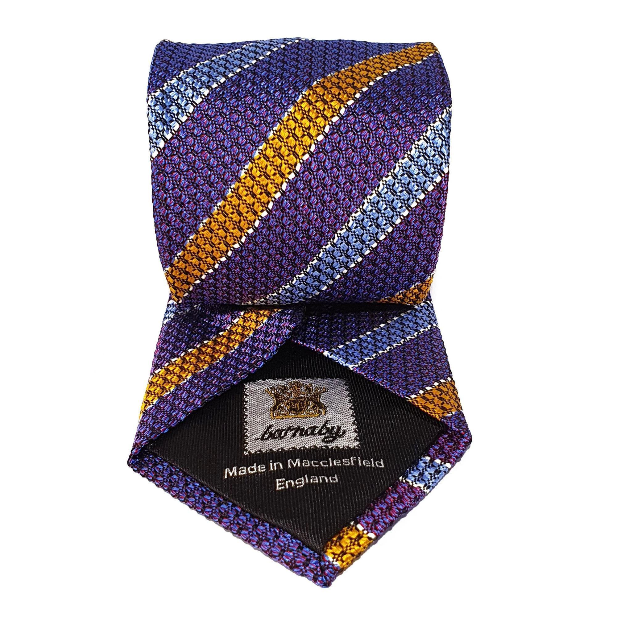 Lilac Purple Stripe Silk Tie Woven Hand Finished - British Made