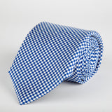 Marine Chequered Silk Tie - British Made