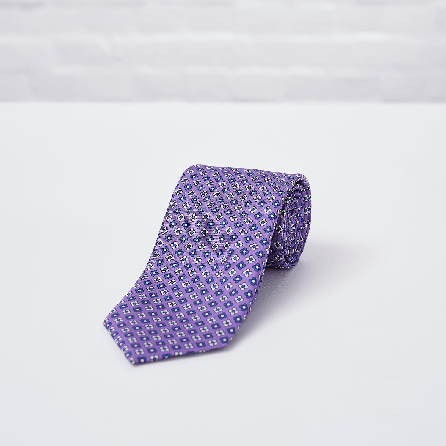 Mauve Floral Printed Silk Tie - British Made
