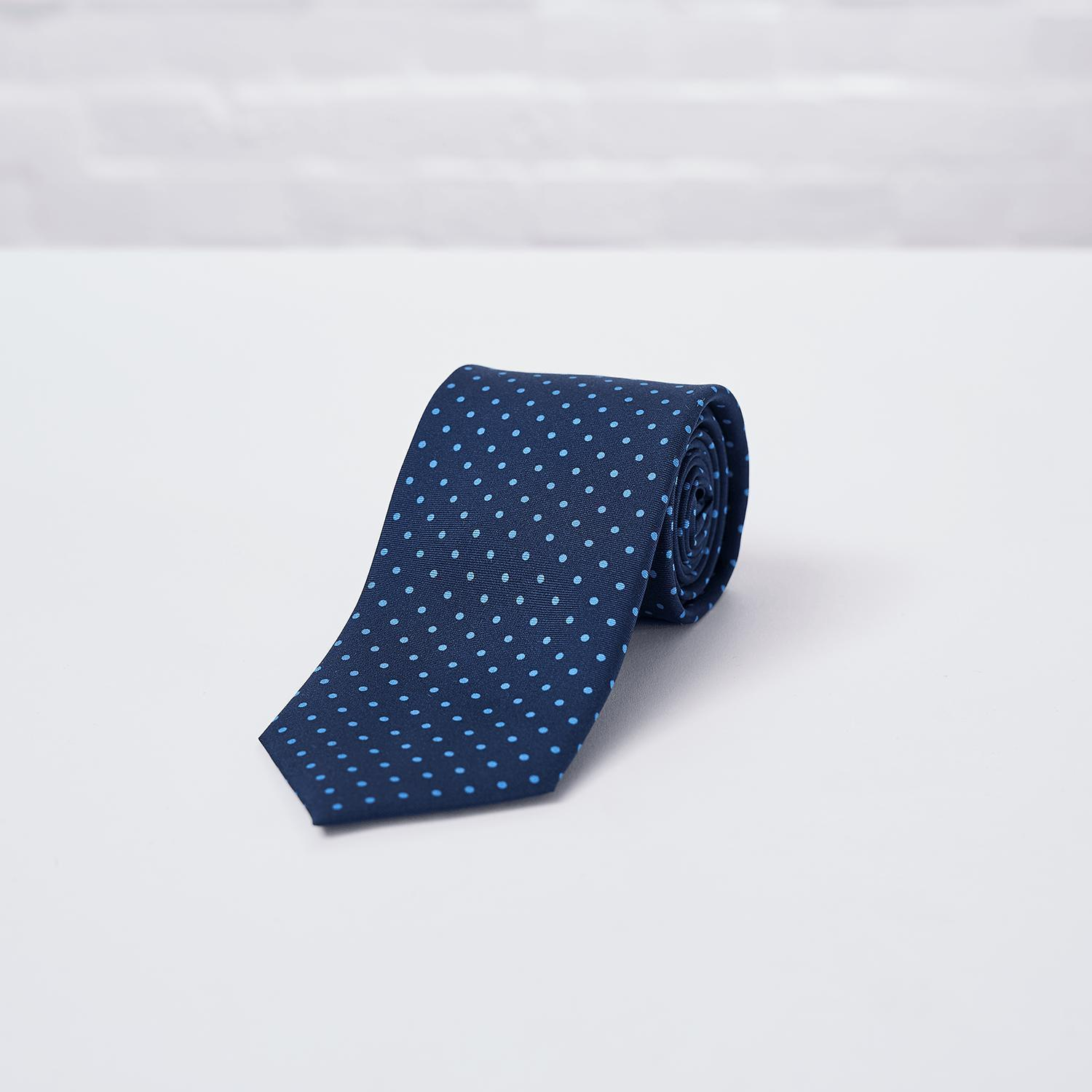 Navy Blue Small Spot Printed Silk Tie - British Made