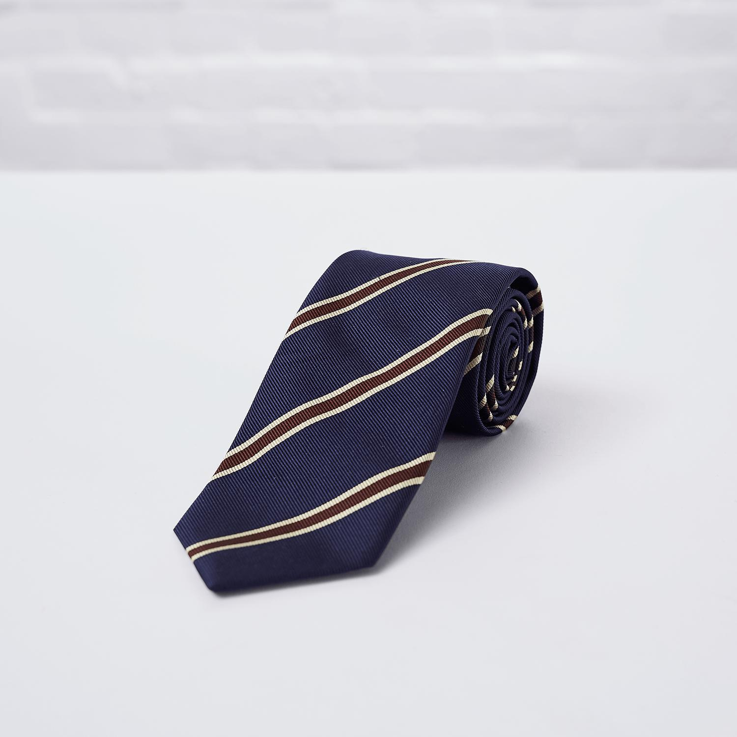 Navy Brown Striped Woven Silk Tie - British Made