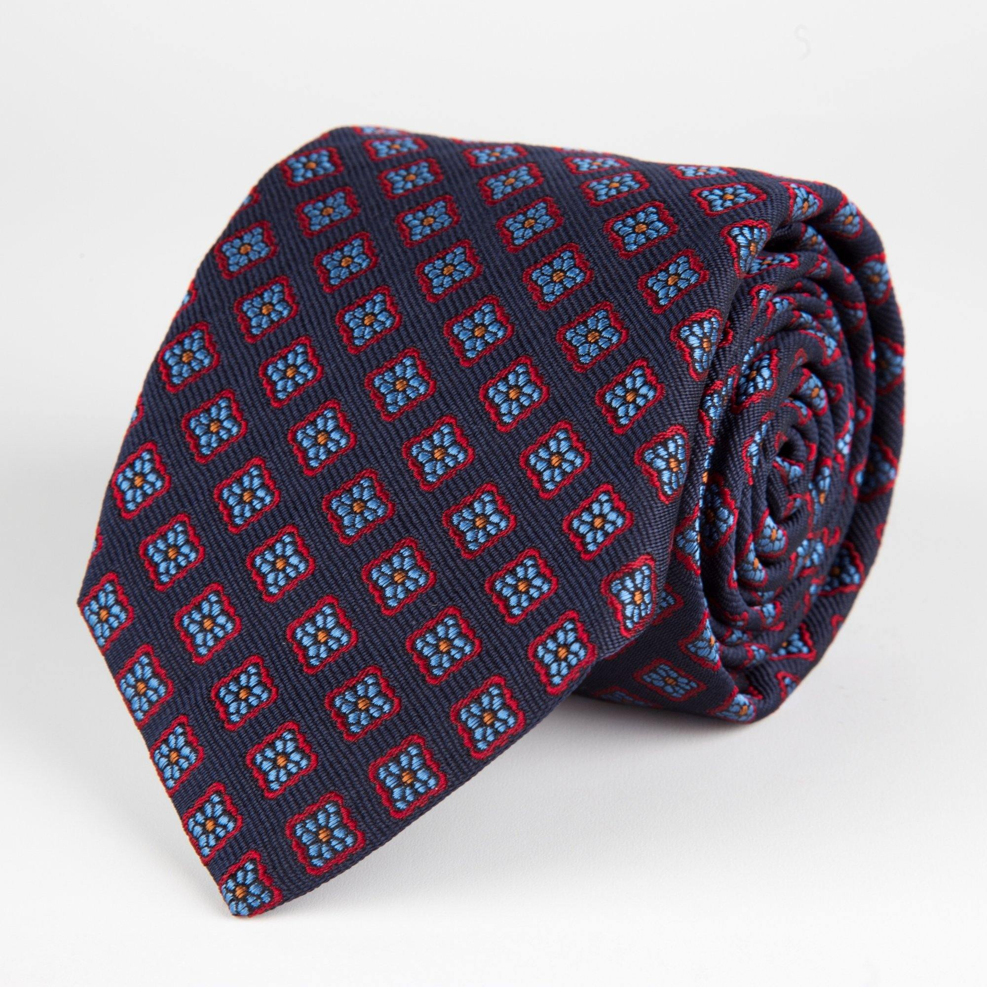Navy Diamond Flower Woven Silk Tie Hand Finished - British Made