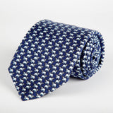 Navy Elephant Printed Silk Tie Hand Finished - British Made