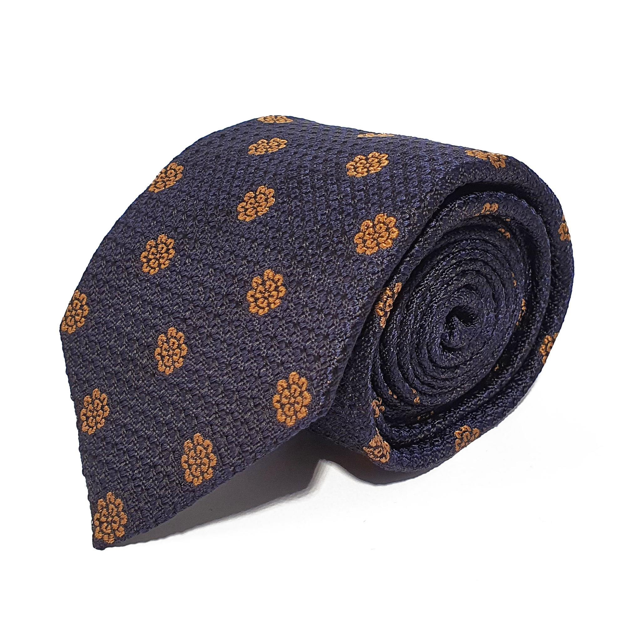 Navy Flower Woven Silk Tie Hand Finished - British Made