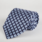 Navy Geometric Flower Block Printed Silk Tie - British Made