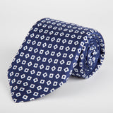 Navy Geometric Tumbling Blocks Printed Silk Tie - British Made