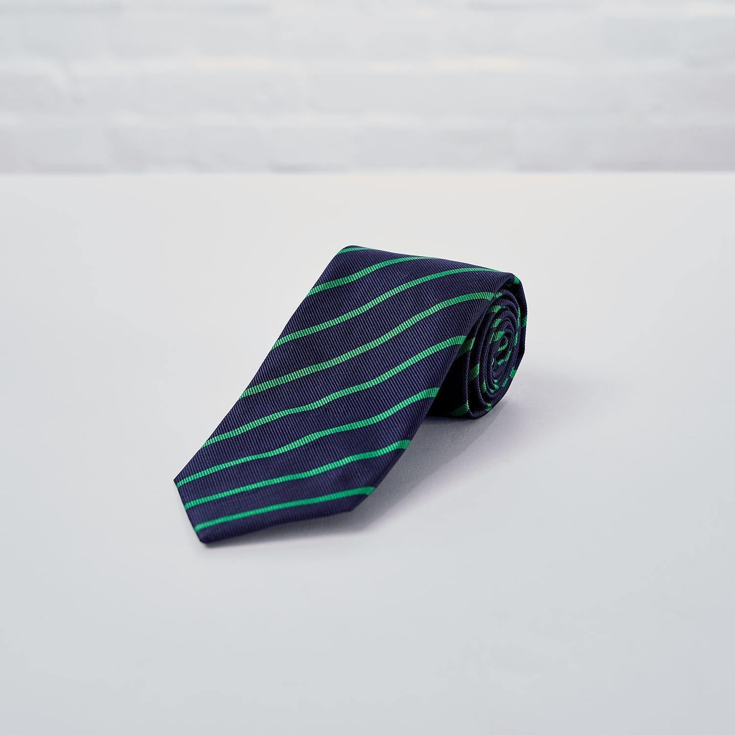 Navy Green Striped Woven Silk Tie Hand Finished - British Made