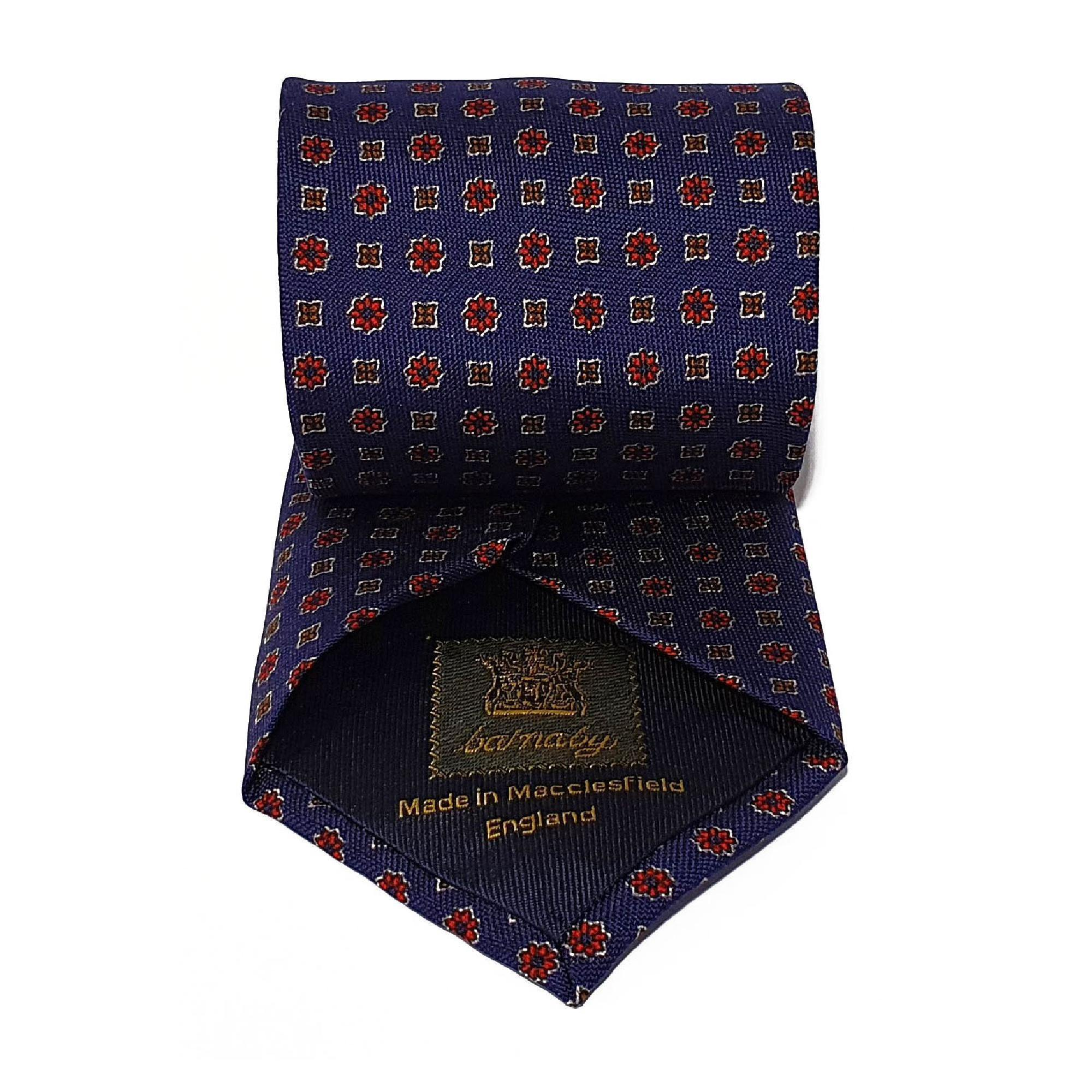 Navy Neats Printed Silk Tie Hand Finished - British Made