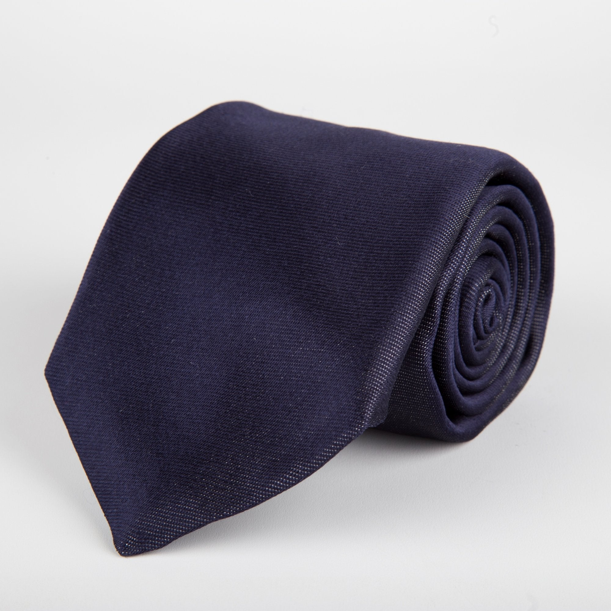 Navy Plain Weave Formal Silk Tie - British Made