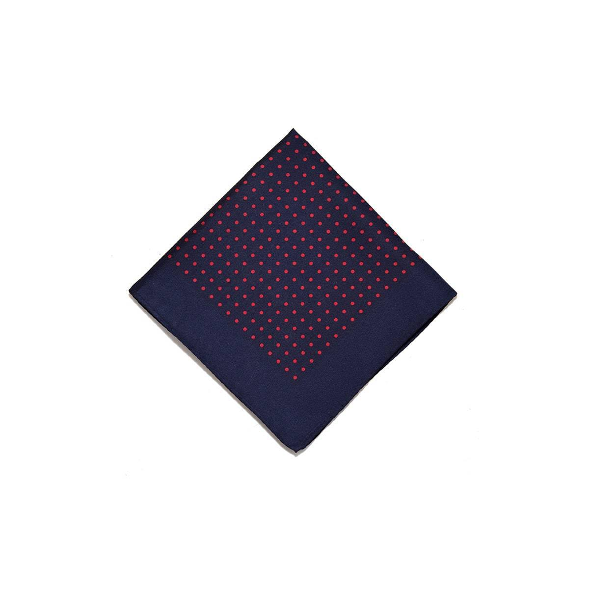 Navy Red Classic Spot Print Silk Pocket Square - British Made