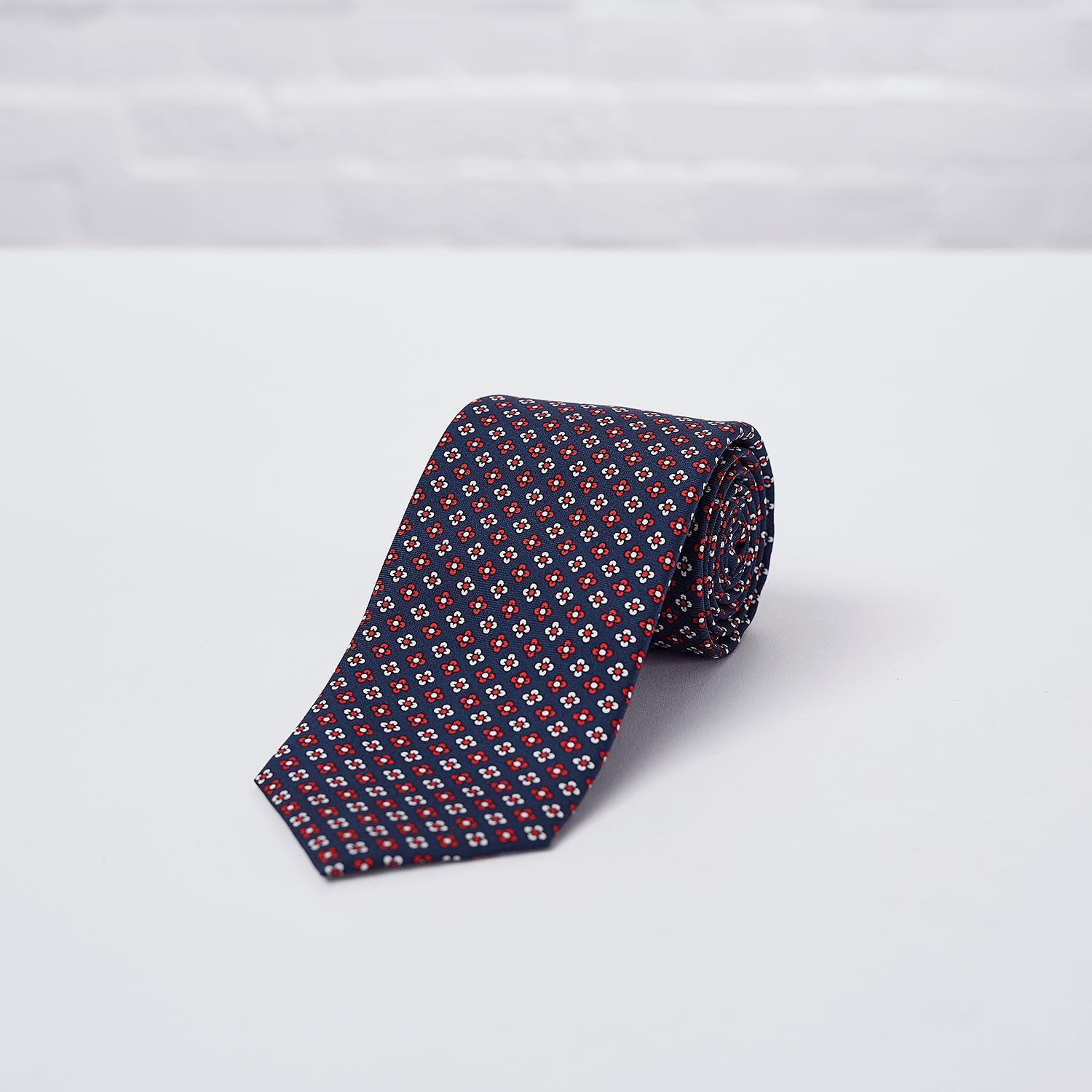 Navy Red Floral Printed Silk Tie - British Made