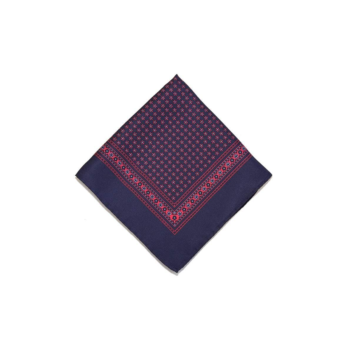 Navy Red Flower Motif Silk Pocket Square - British Made