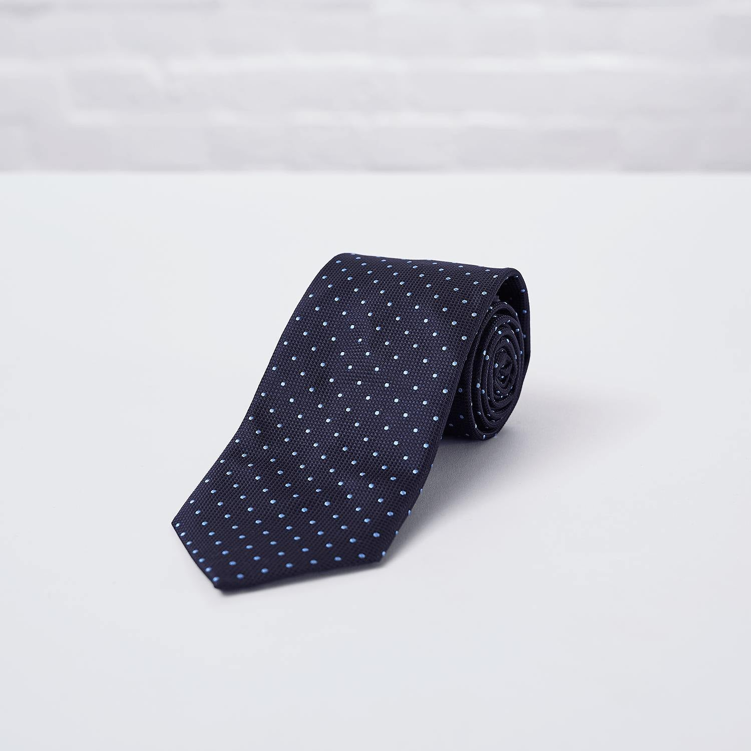 Navy Spot Woven Silk Tie Hand Finished - British Made