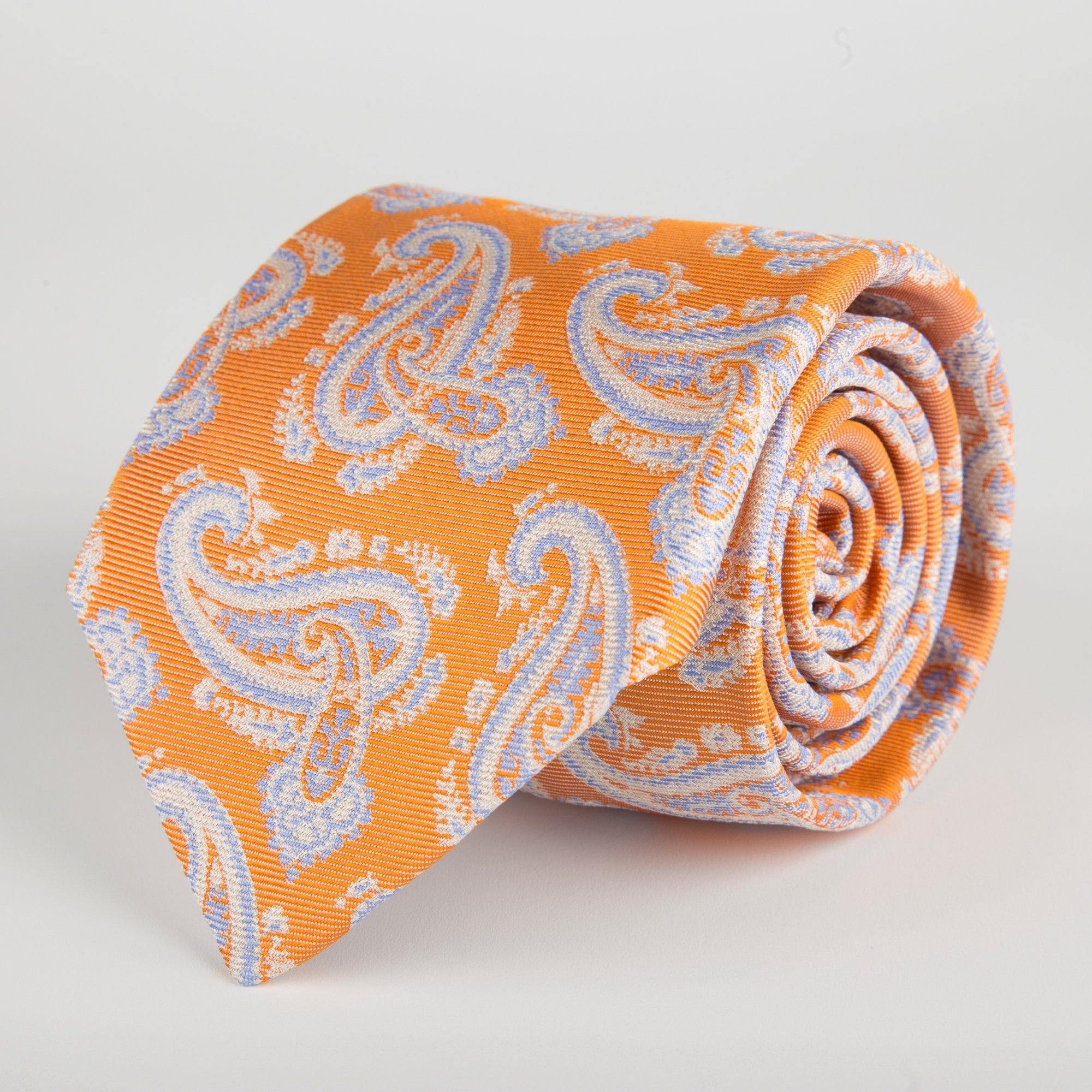 Orange Floral Paisley Woven Silk Tie Hand Finished - British Made