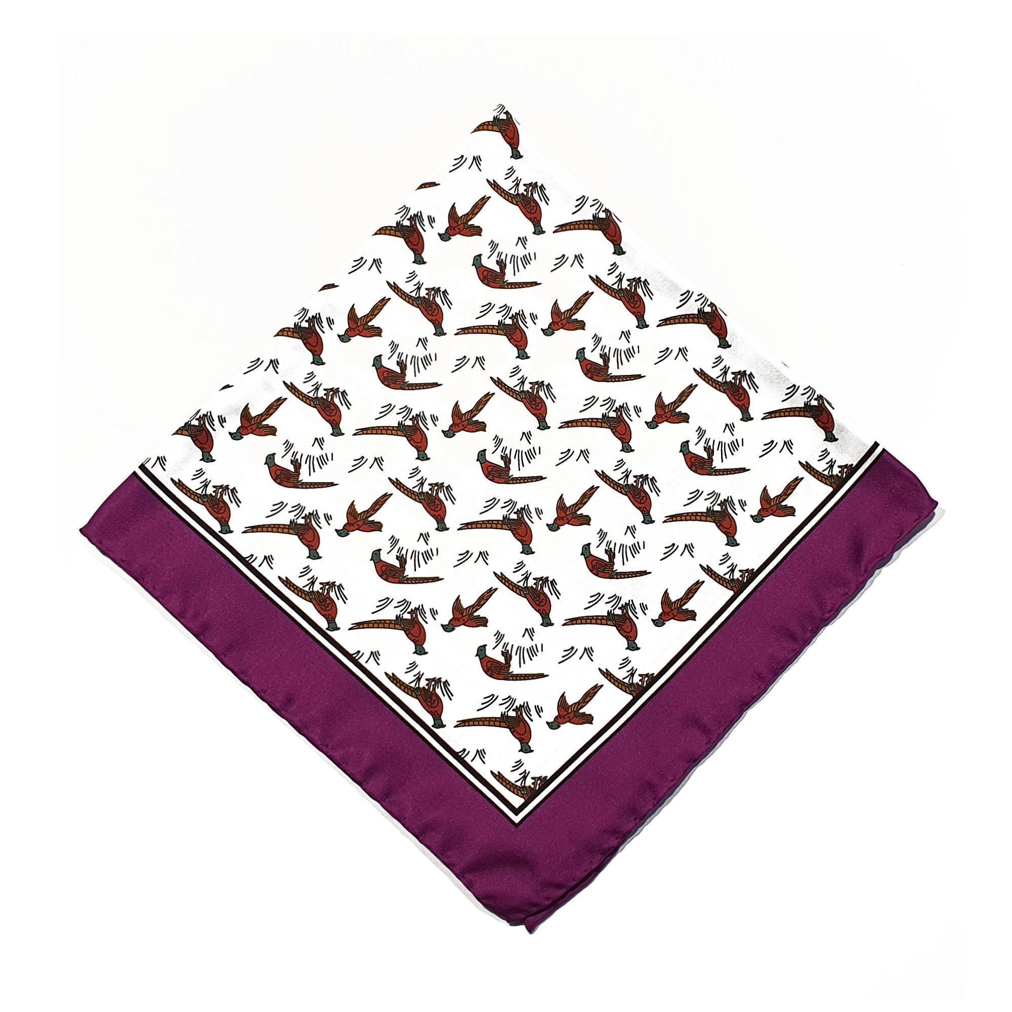 Pheasant Silk Pocket Square Purple Pink Border - British Made
