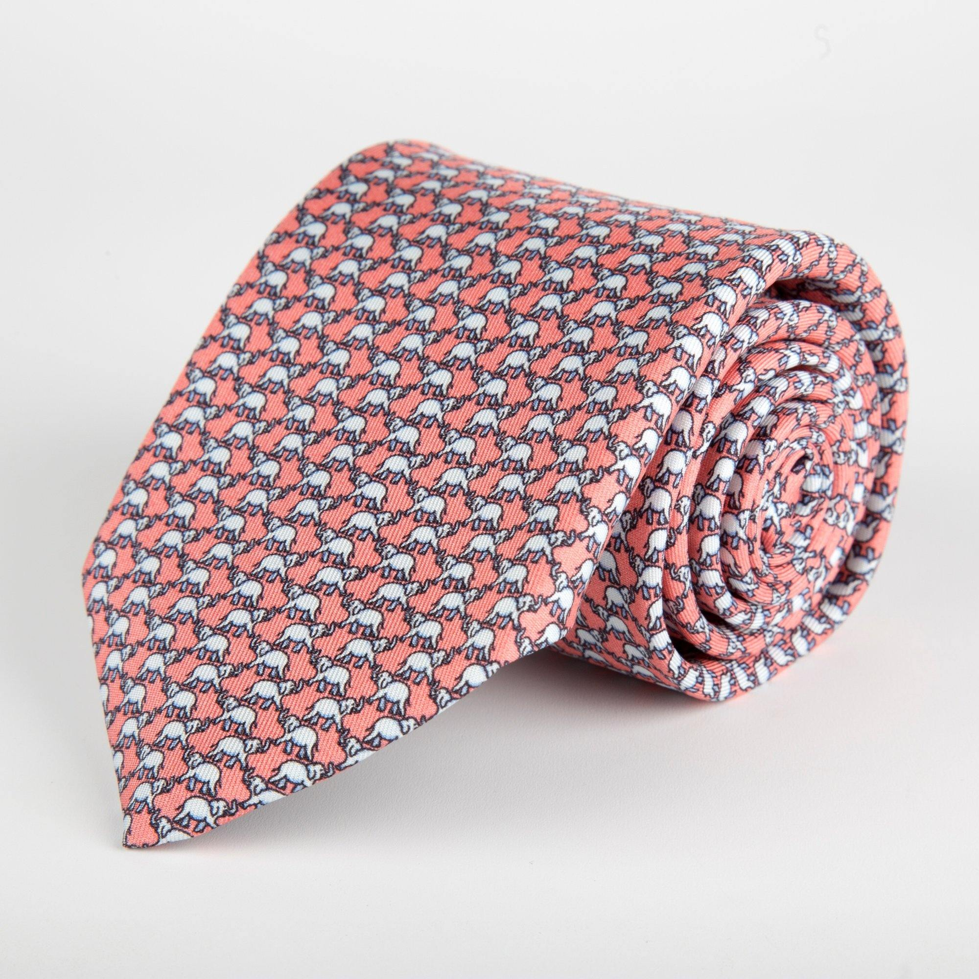 Pink Elephant Printed Silk Tie Hand Finished - British Made