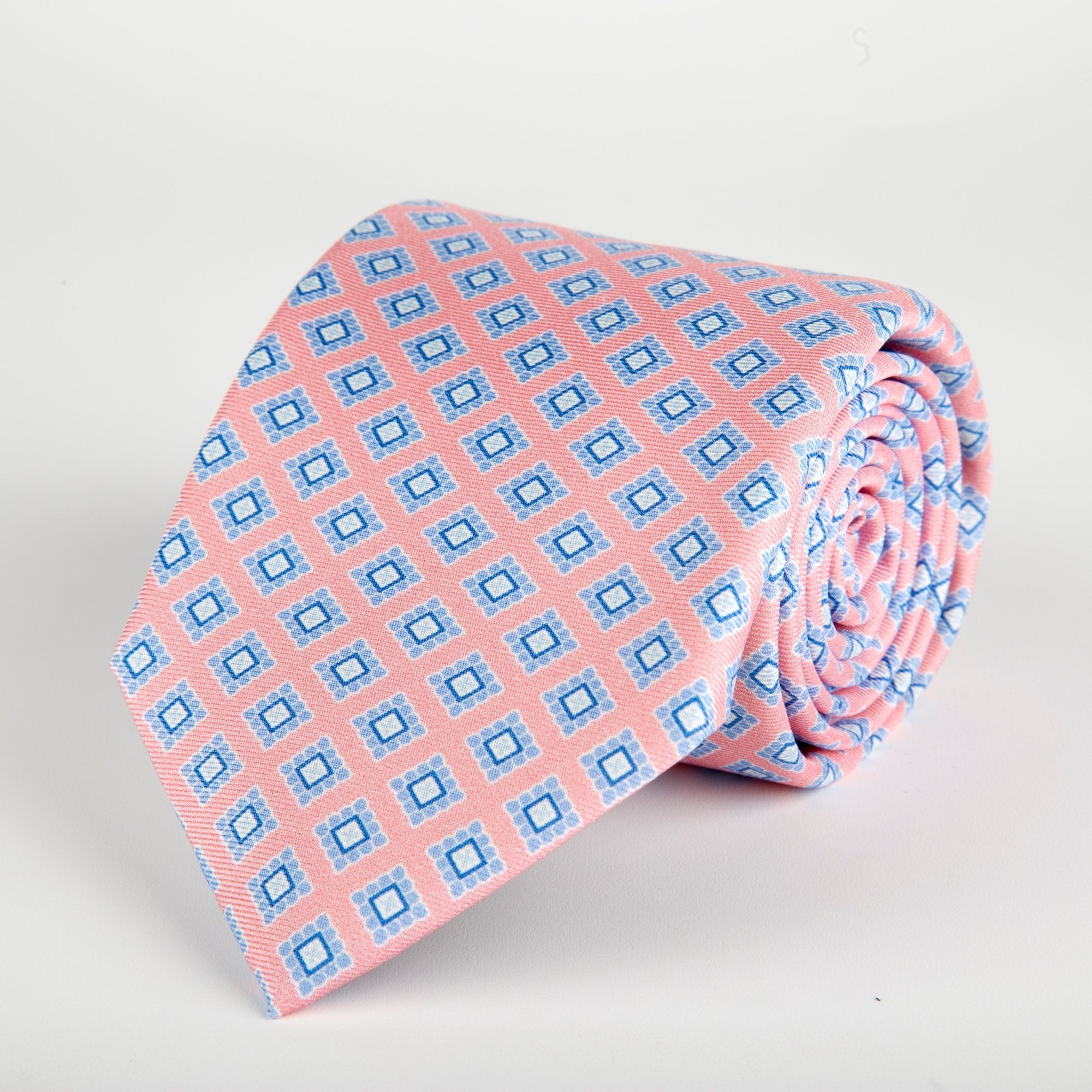 Pink Geometric Flower Block Printed Silk Tie - British Made