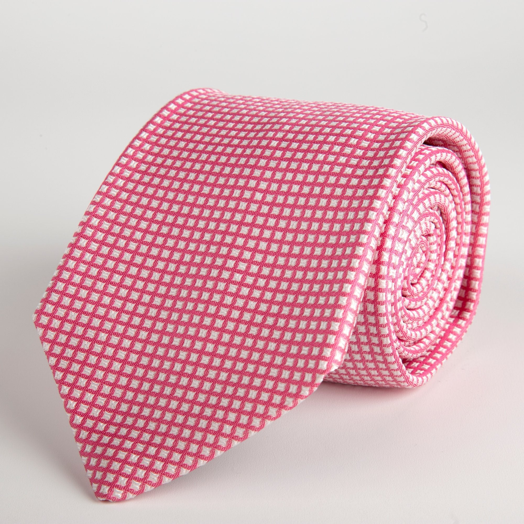 Pink Small Square Woven Silk Tie - British Made