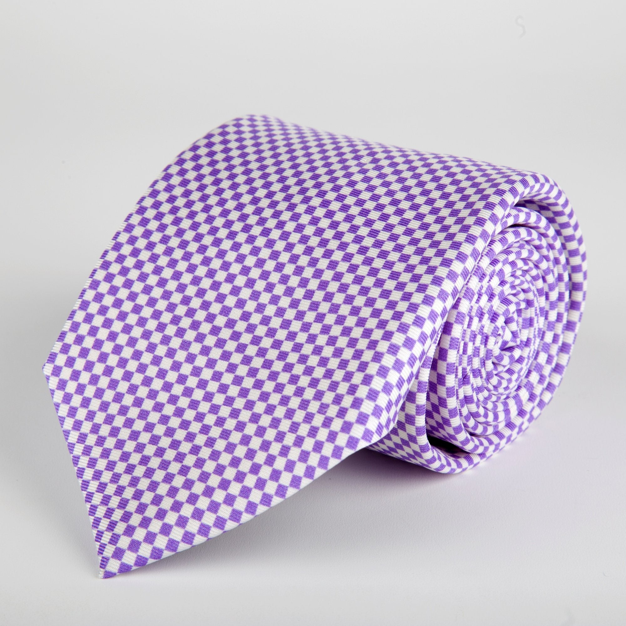 Purple Chequered Silk Tie - British Made