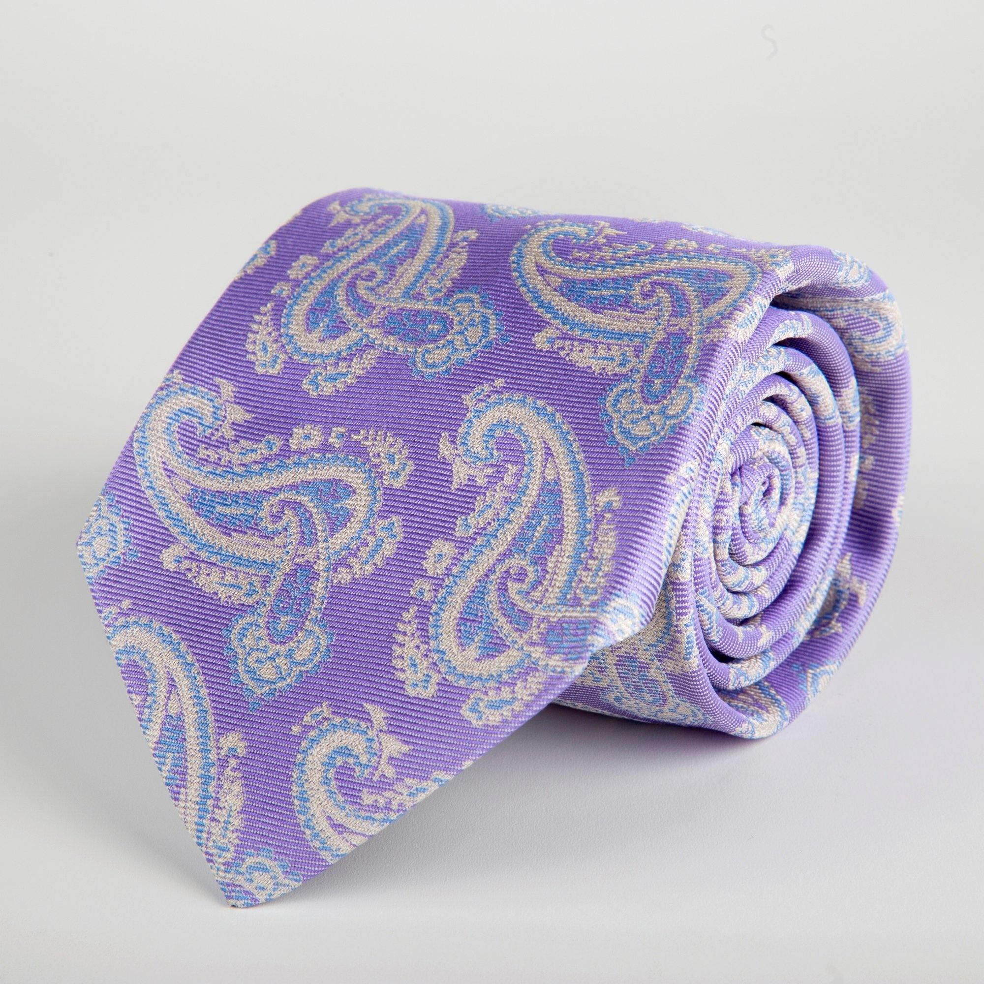 Purple Floral Paisley Woven Silk Tie Hand Finished - British Made